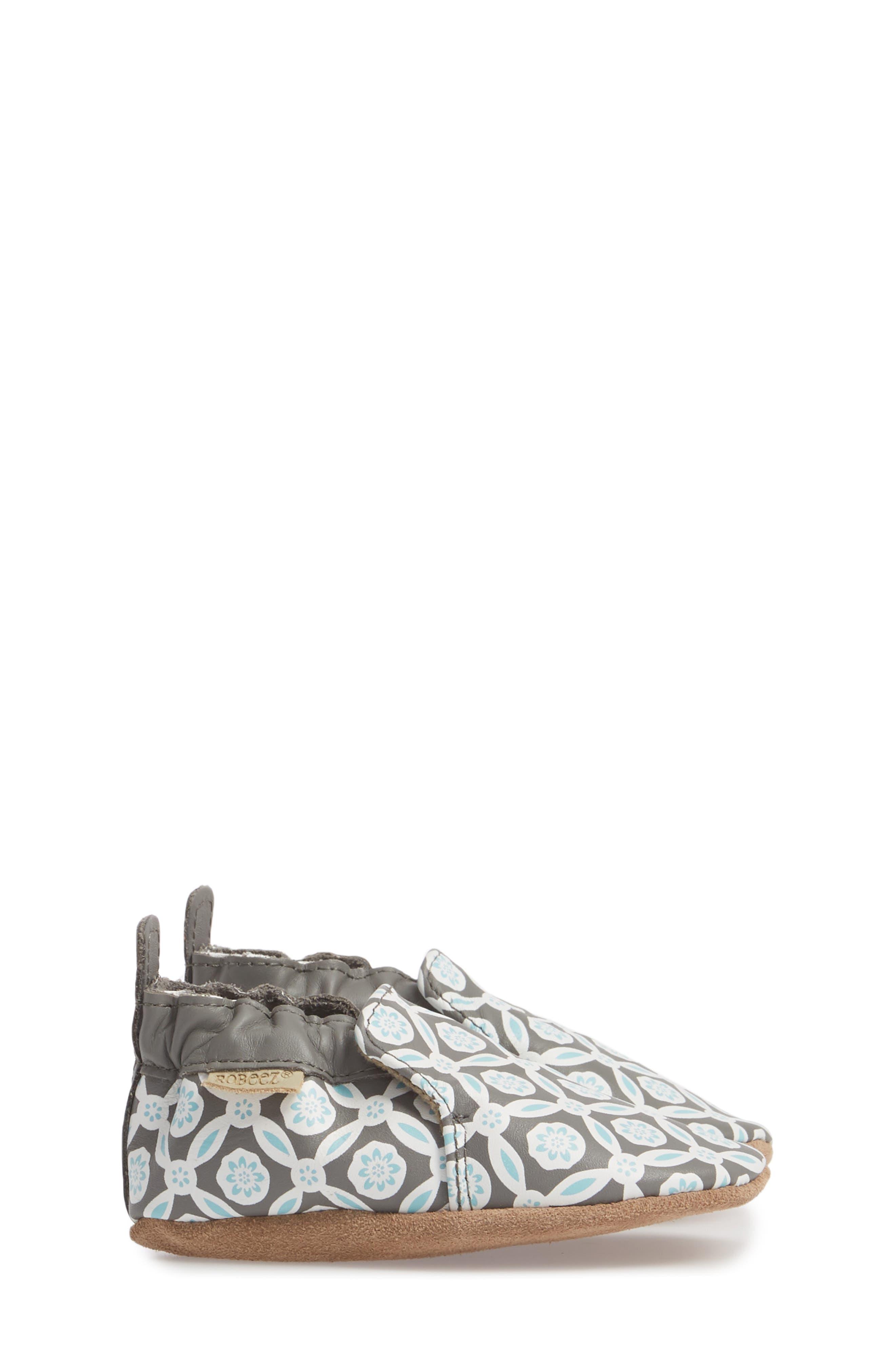Khloe Moccasin Crib Shoe,                             Alternate thumbnail 3, color,                             CHARCOAL
