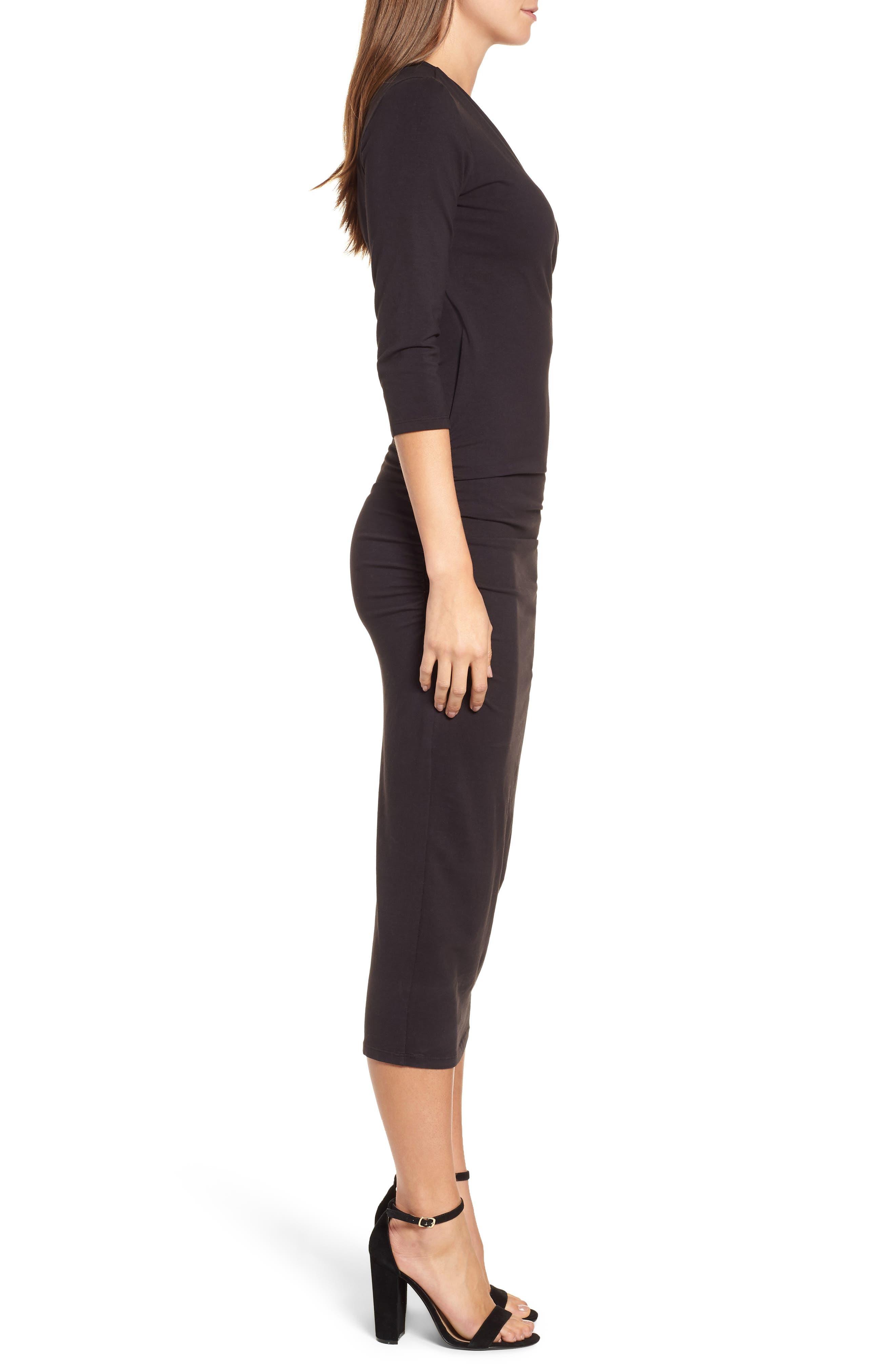 Ruched Surplice Stretch Cotton Body-Con Dress,                             Alternate thumbnail 3, color,                             BLACK