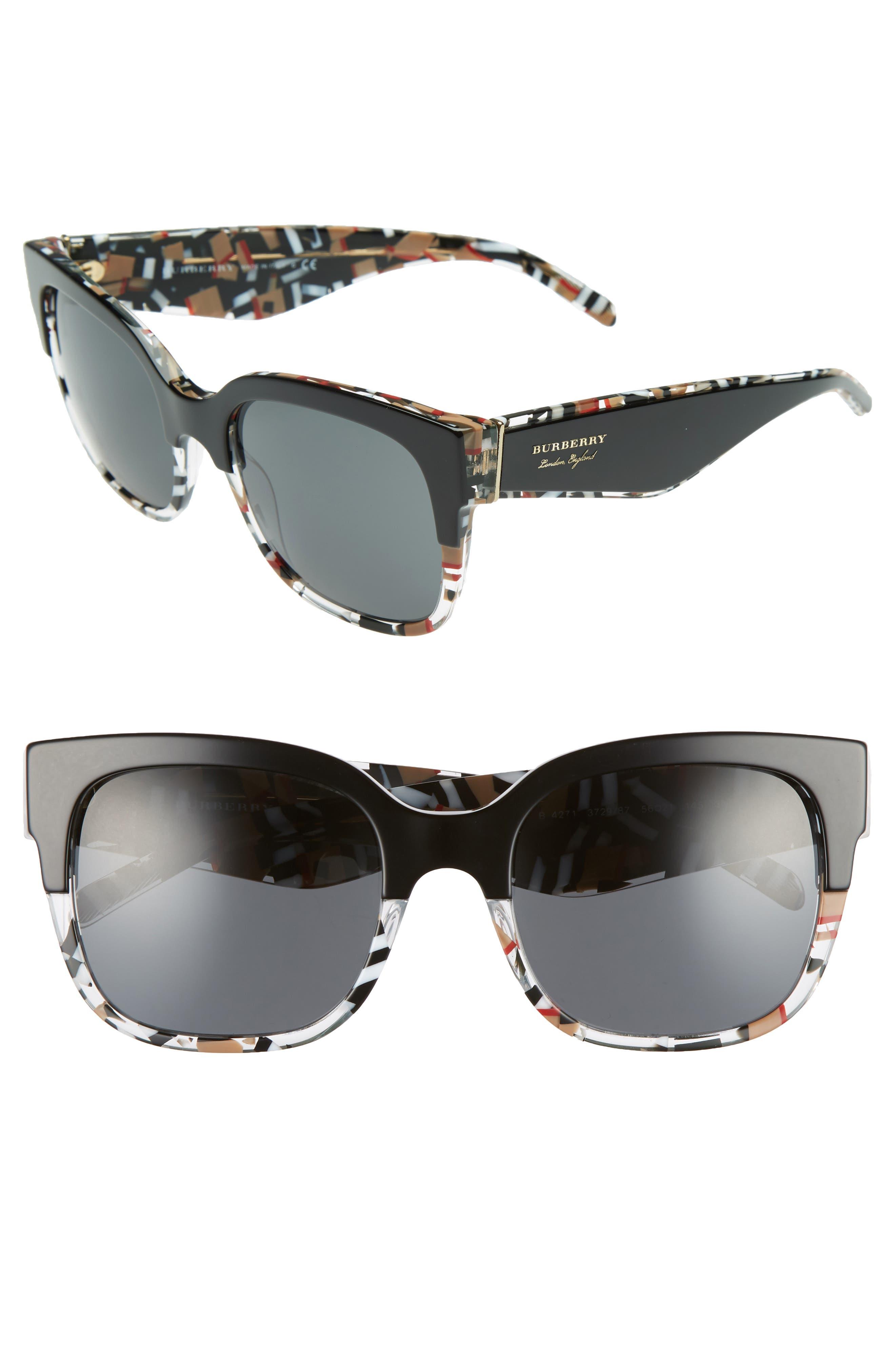 56mm Cat Eye Sunglasses,                         Main,                         color, 001