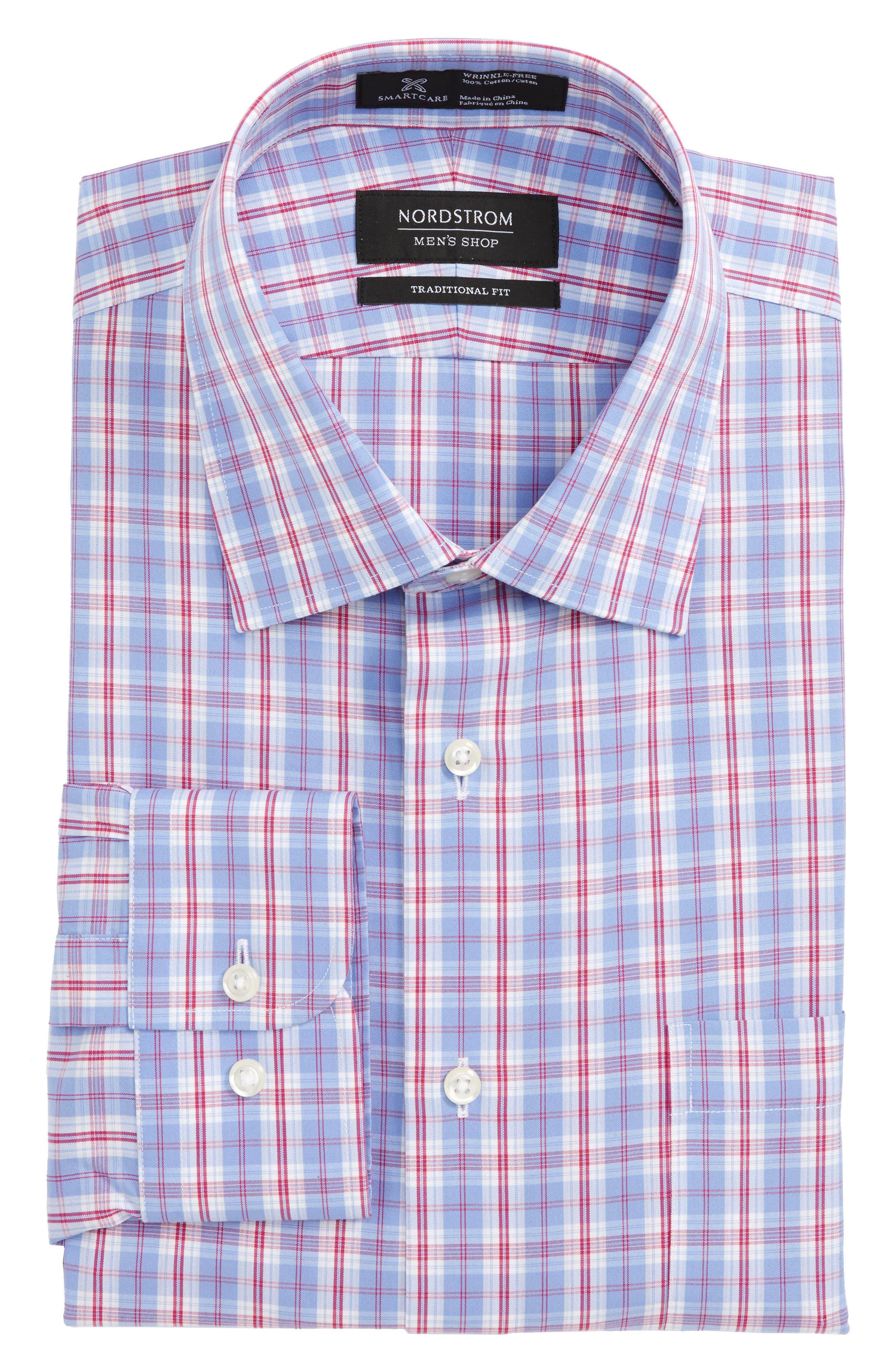 Smartcare<sup>™</sup> Traditional Fit Plaid Dress Shirt,                             Main thumbnail 1, color,
