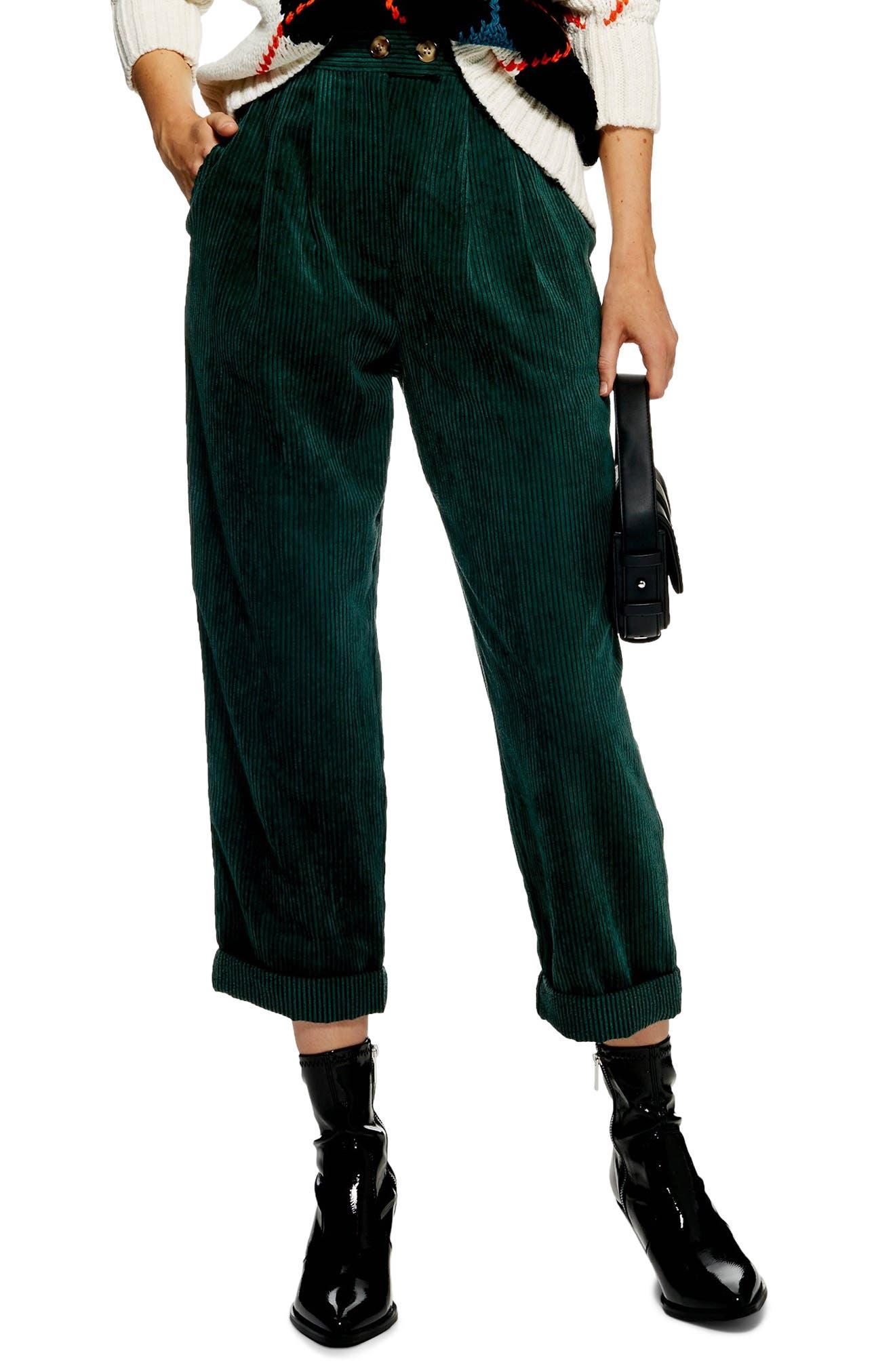 Corduroy Peg Trousers,                         Main,                         color, FOREST
