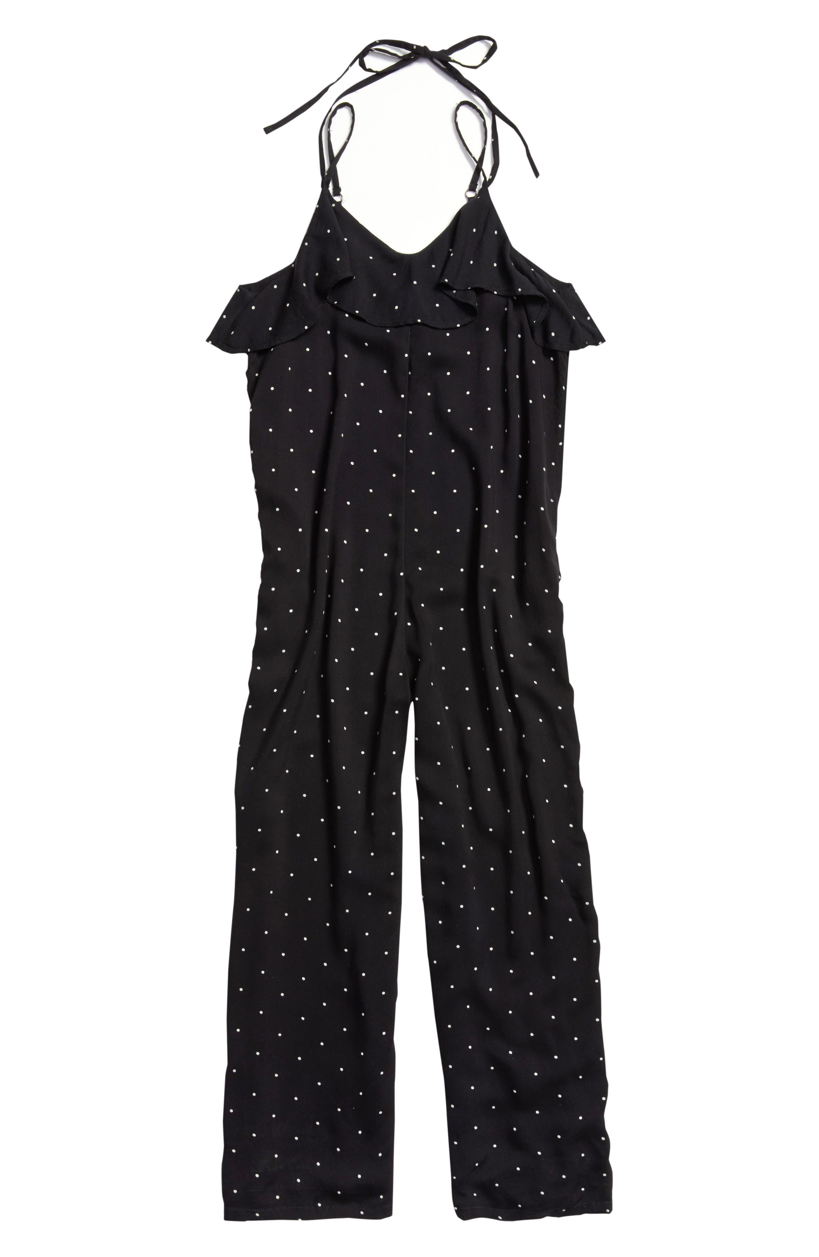 Ruffle Halter Jumpsuit,                         Main,                         color, BLACK- WHITE DOT
