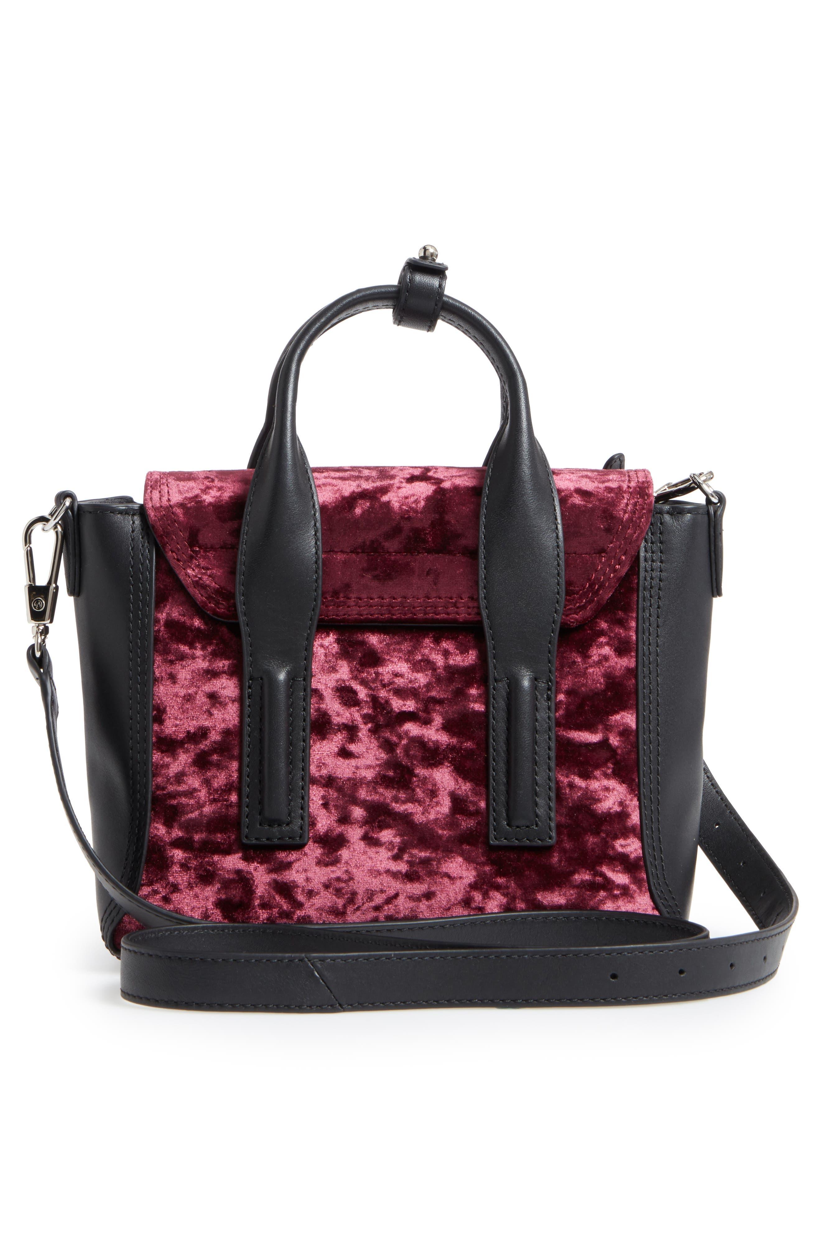 Mini Pashli Velvet & Leather Satchel,                             Alternate thumbnail 3, color,                             670