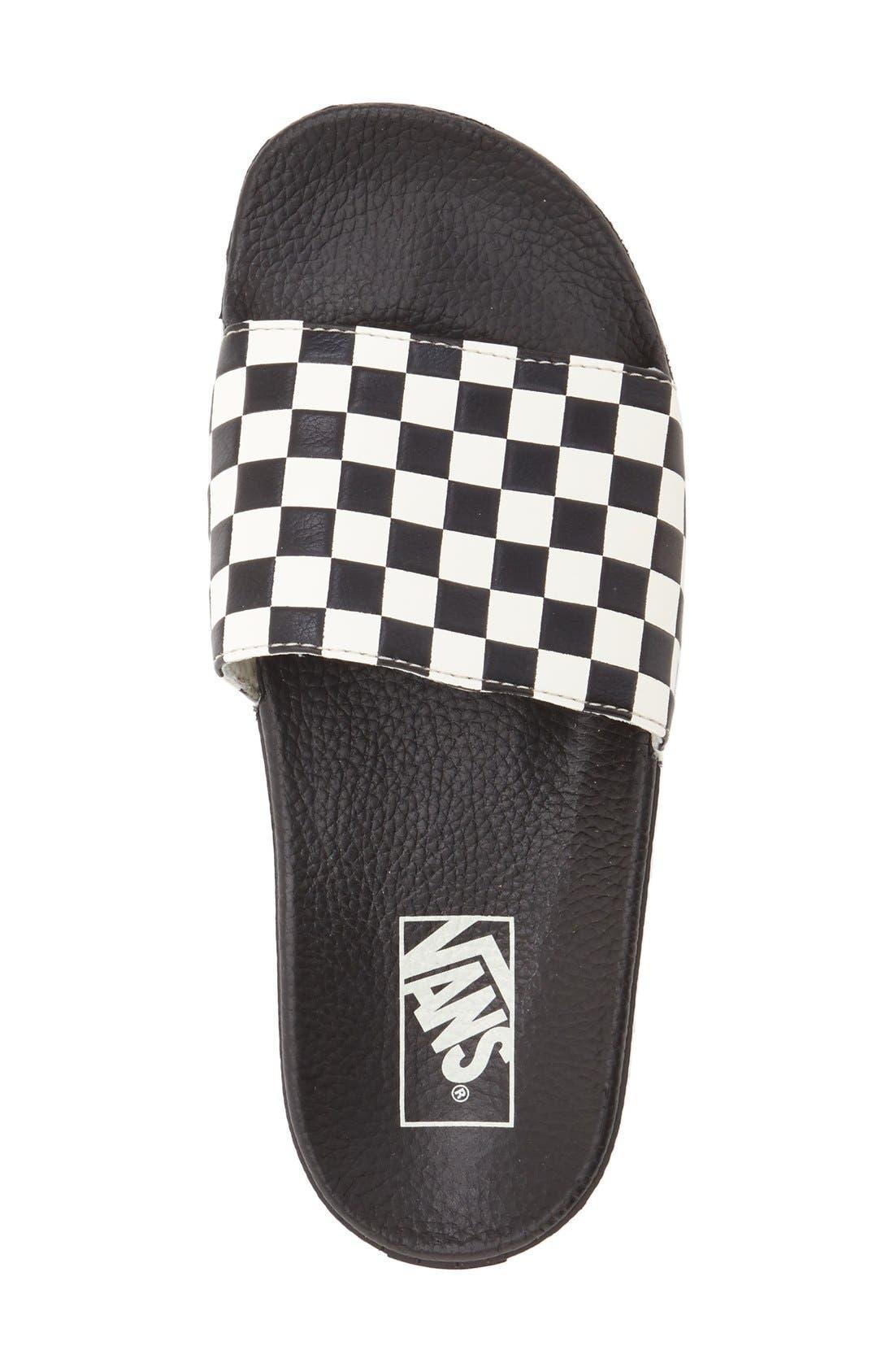 'Slide-On' Slide Sandal,                             Alternate thumbnail 3, color,                             WHITE CHECKERBOARD