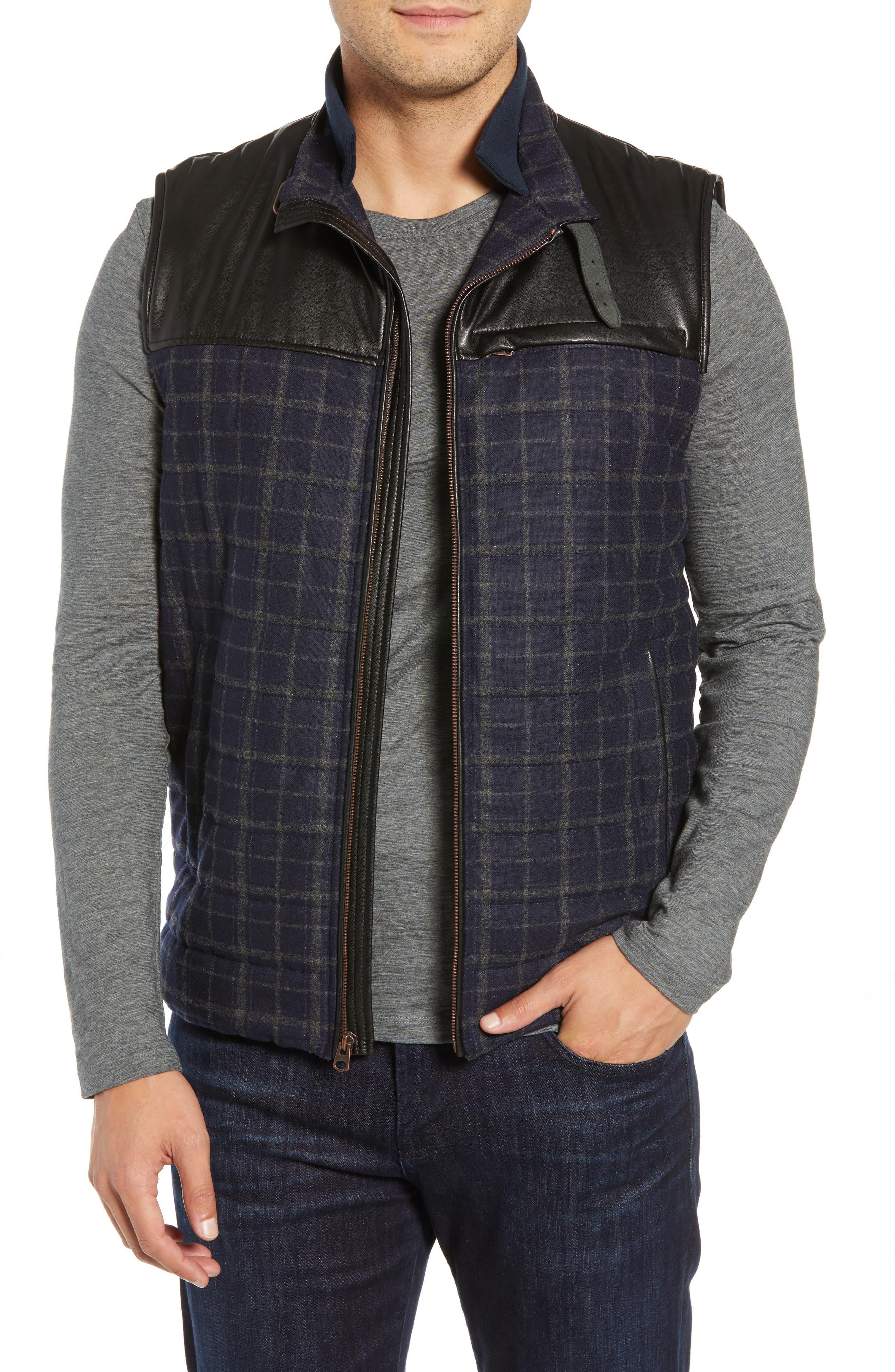 McClement Leather Trim Wool Blend Vest,                         Main,                         color, BLUE