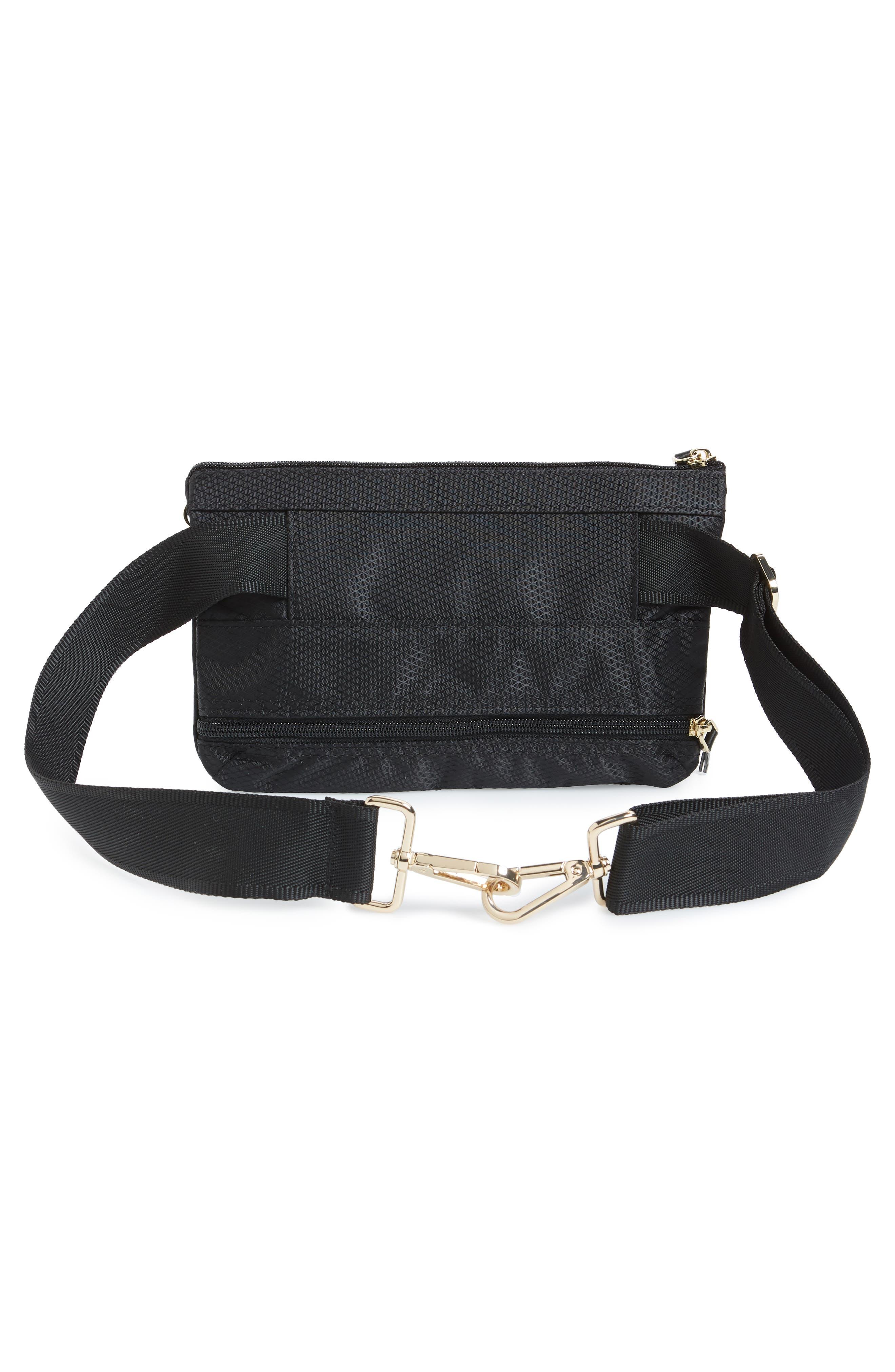 Go Black Expandable Belt Bag,                             Alternate thumbnail 5, color,                             BLACK