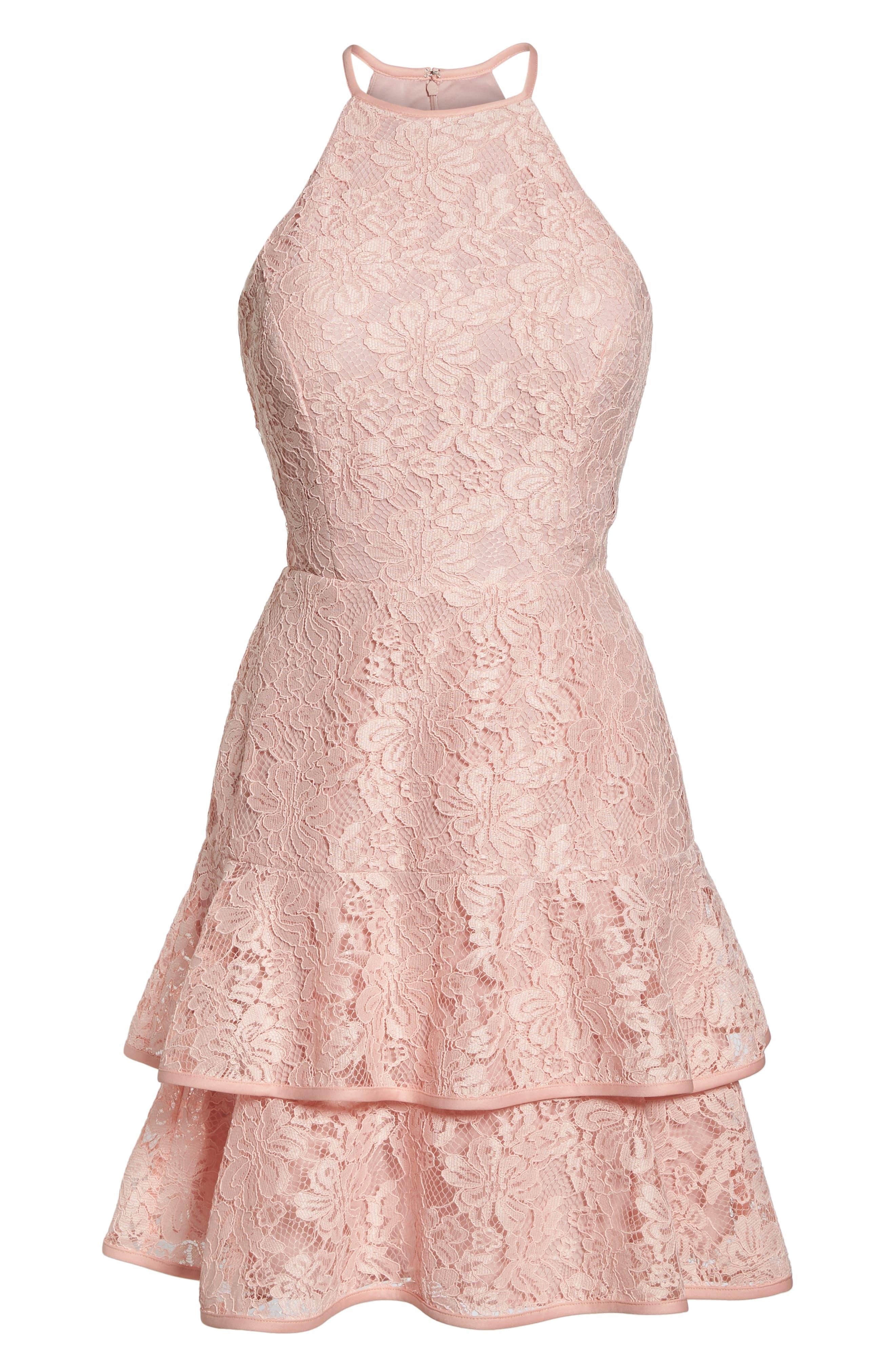 Ruffle Tier Lace Party Dress,                             Alternate thumbnail 6, color,                             680