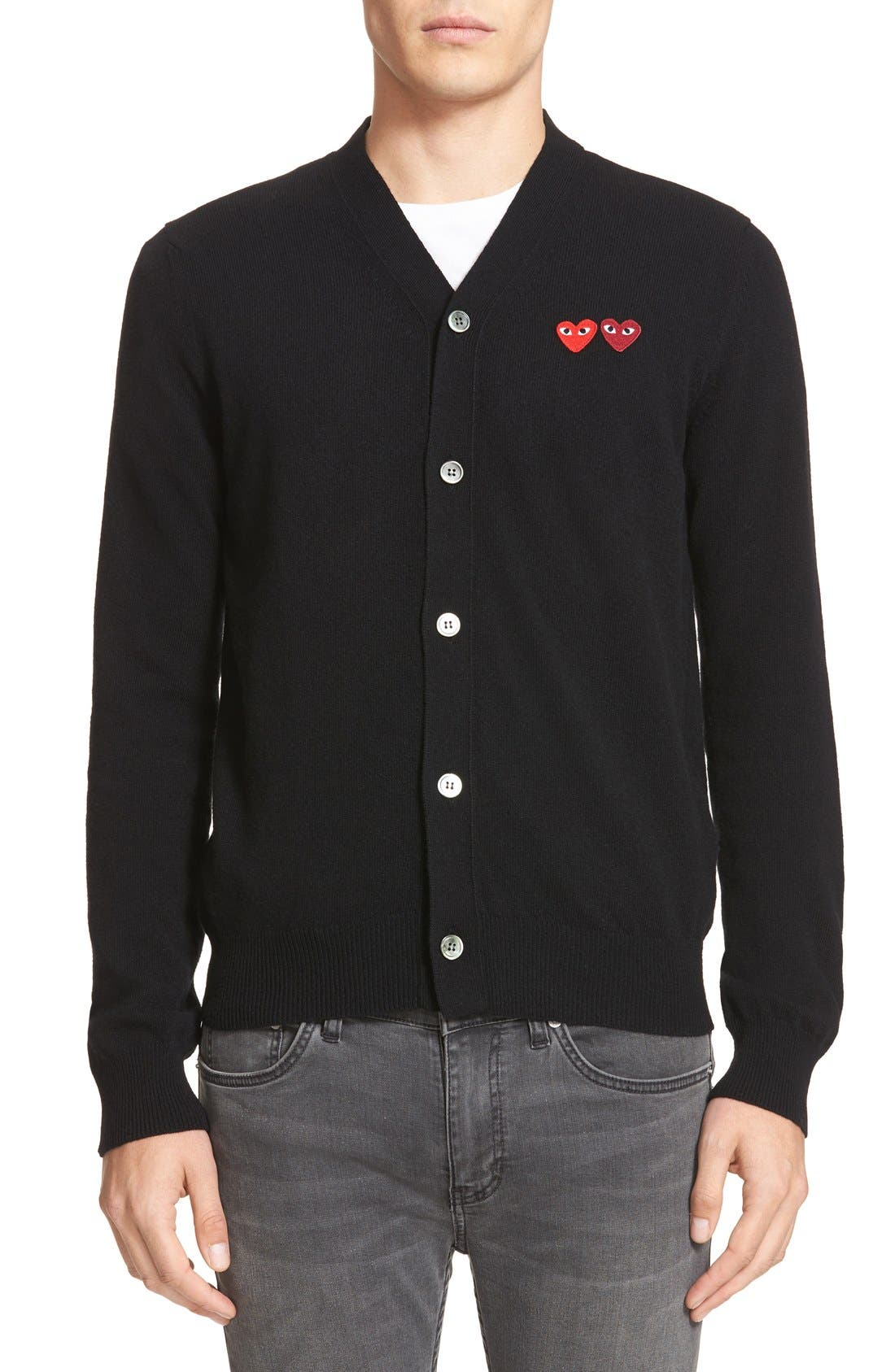 Comme Des Garcons Play Double Heart Wool Cardigan, Black