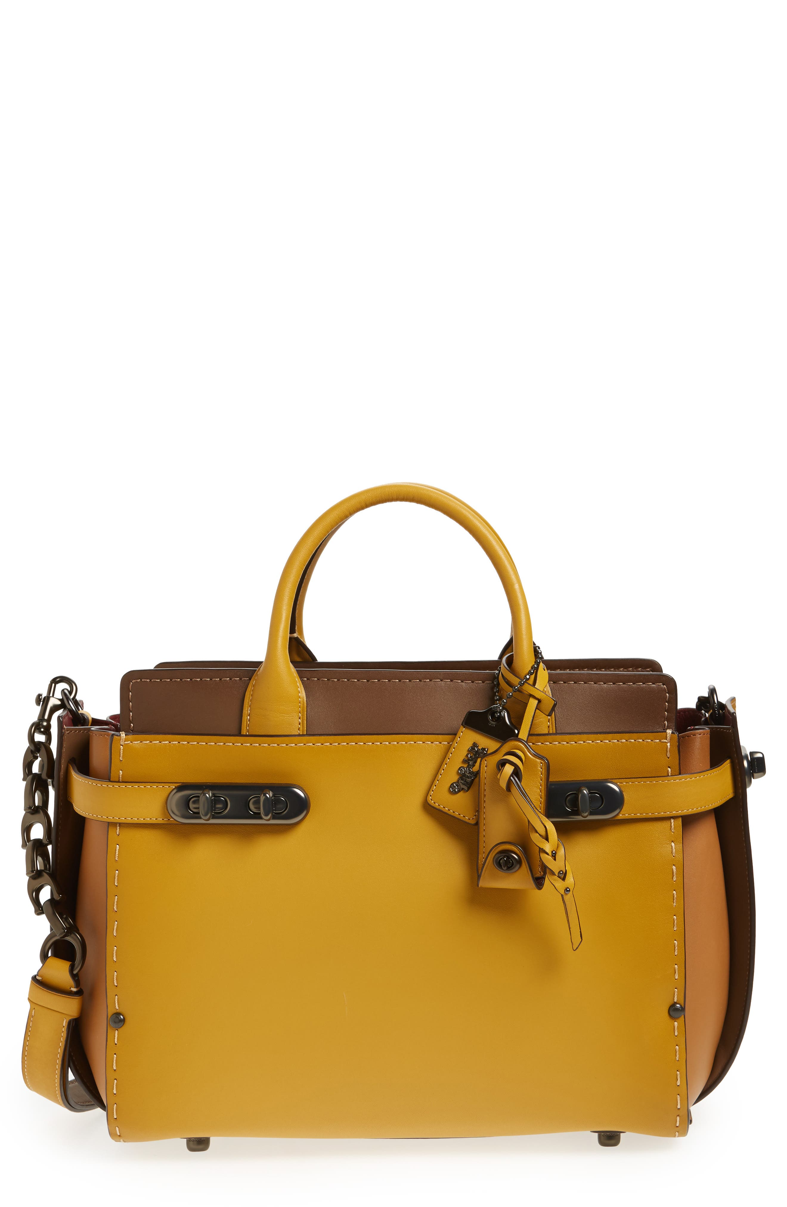 COACH Double Swagger Leather Satchel,                         Main,                         color, 700