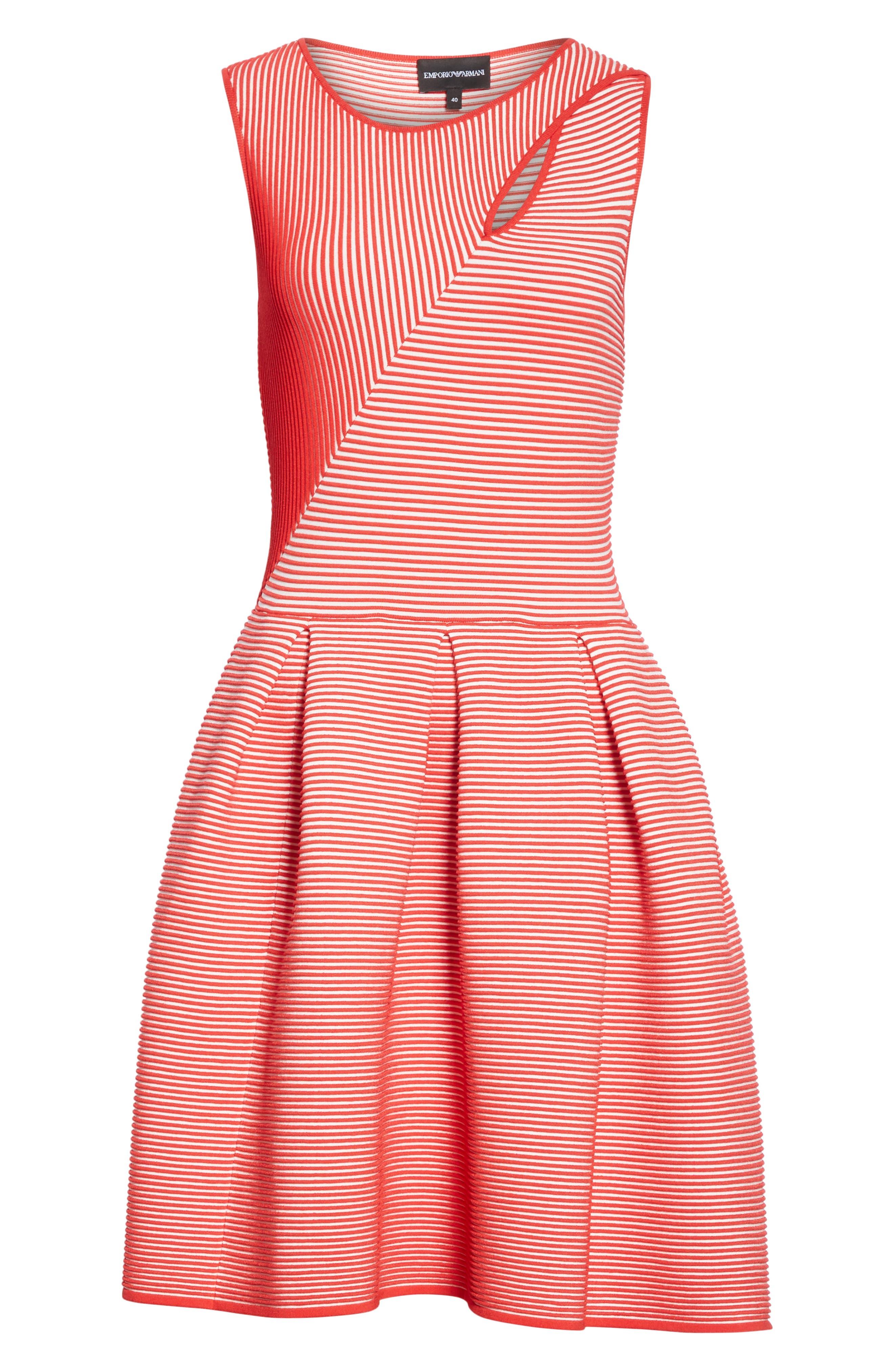 Stripe Knit Jersey Dress,                             Alternate thumbnail 6, color,                             ROSSO VULCANO