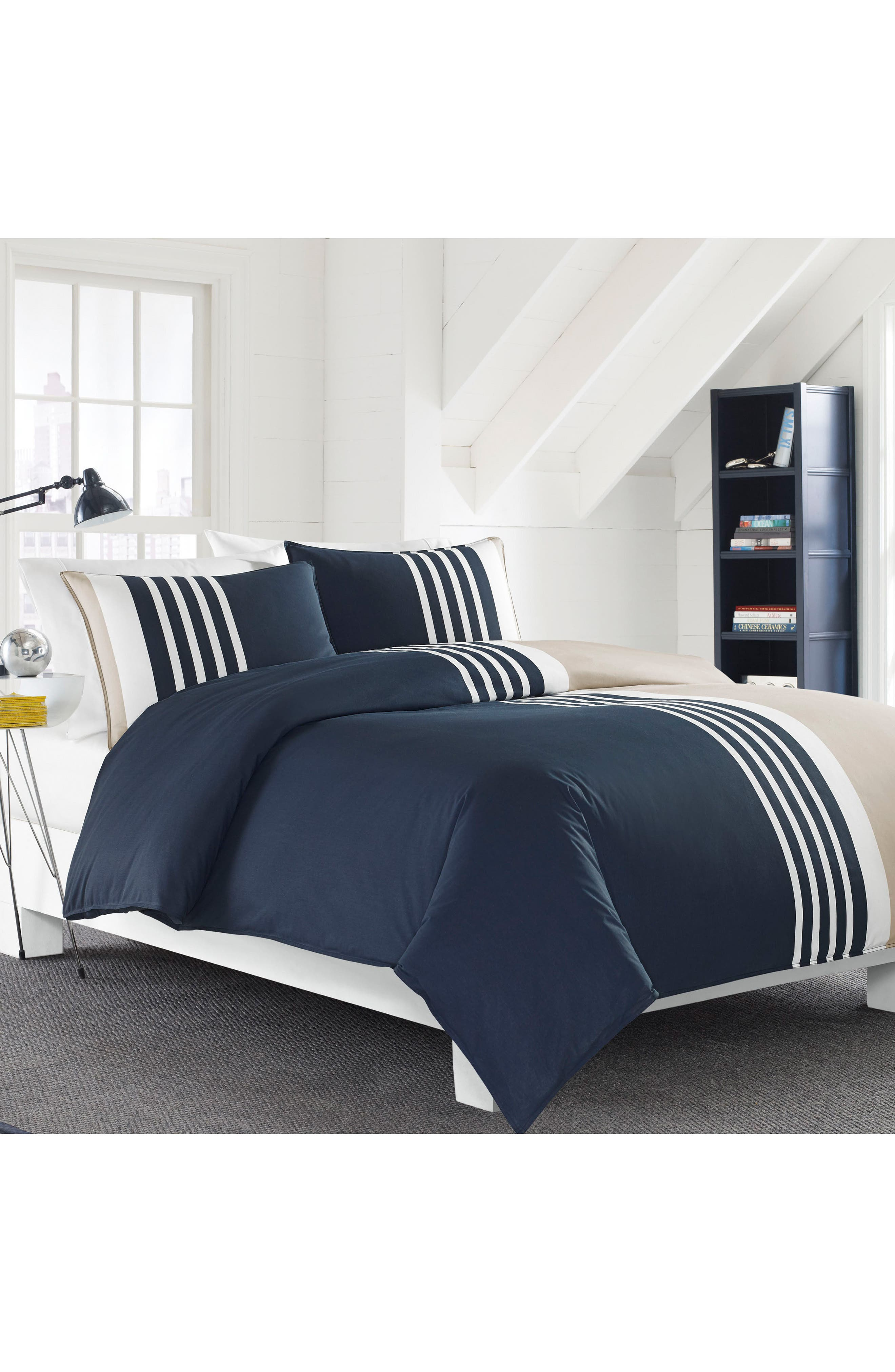 Aport Duvet & Sham Set,                             Alternate thumbnail 3, color,                             NAVY