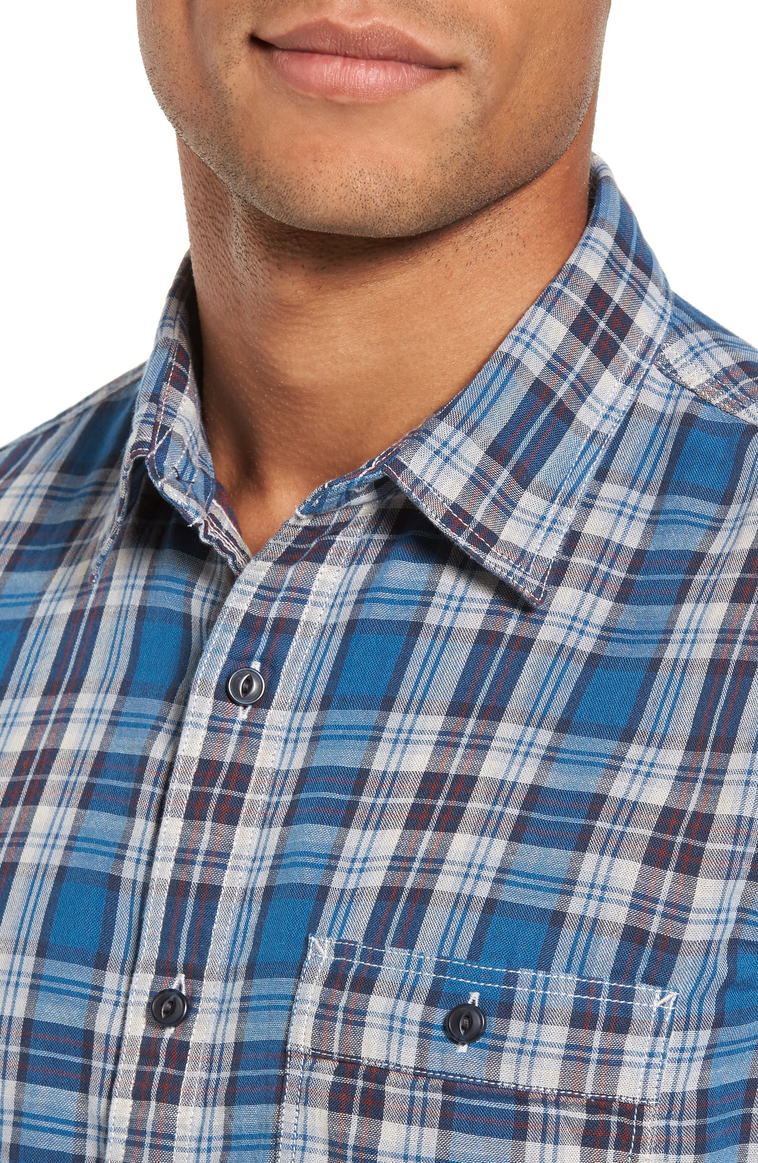 Workwear Duofold Plaid Sport Shirt,                             Alternate thumbnail 4, color,                             440