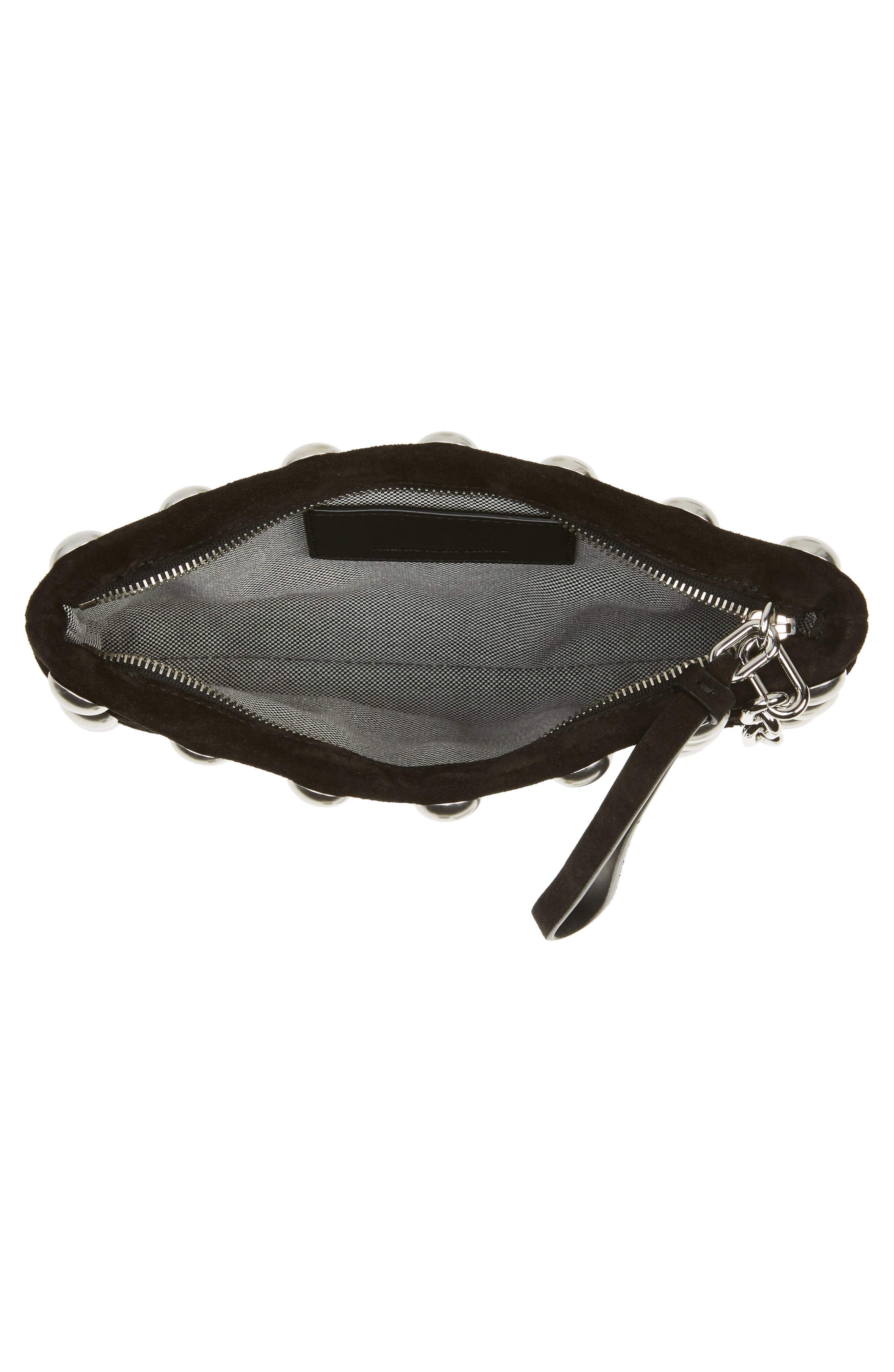 Roxy Studded Cage Leather Wristlet,                             Alternate thumbnail 4, color,