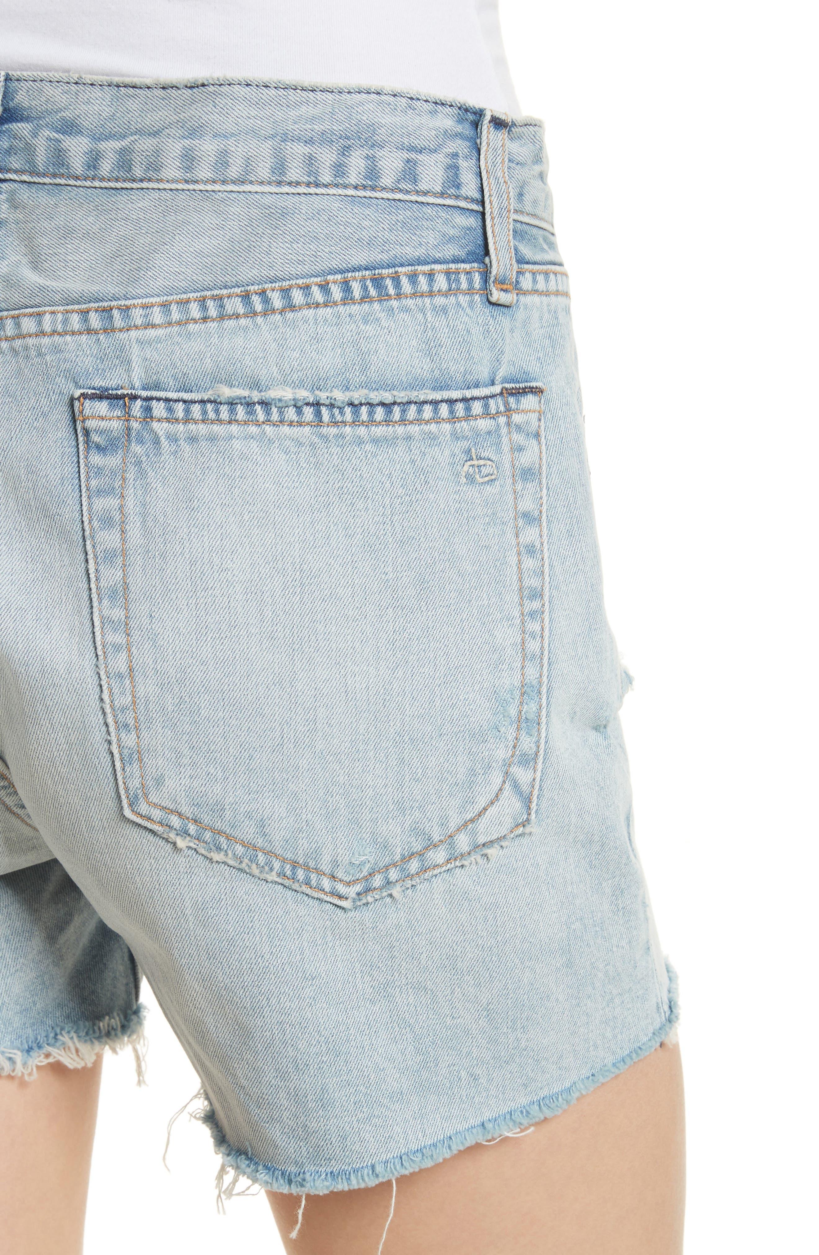 Boy Fray Denim Shorts,                             Alternate thumbnail 4, color,                             450