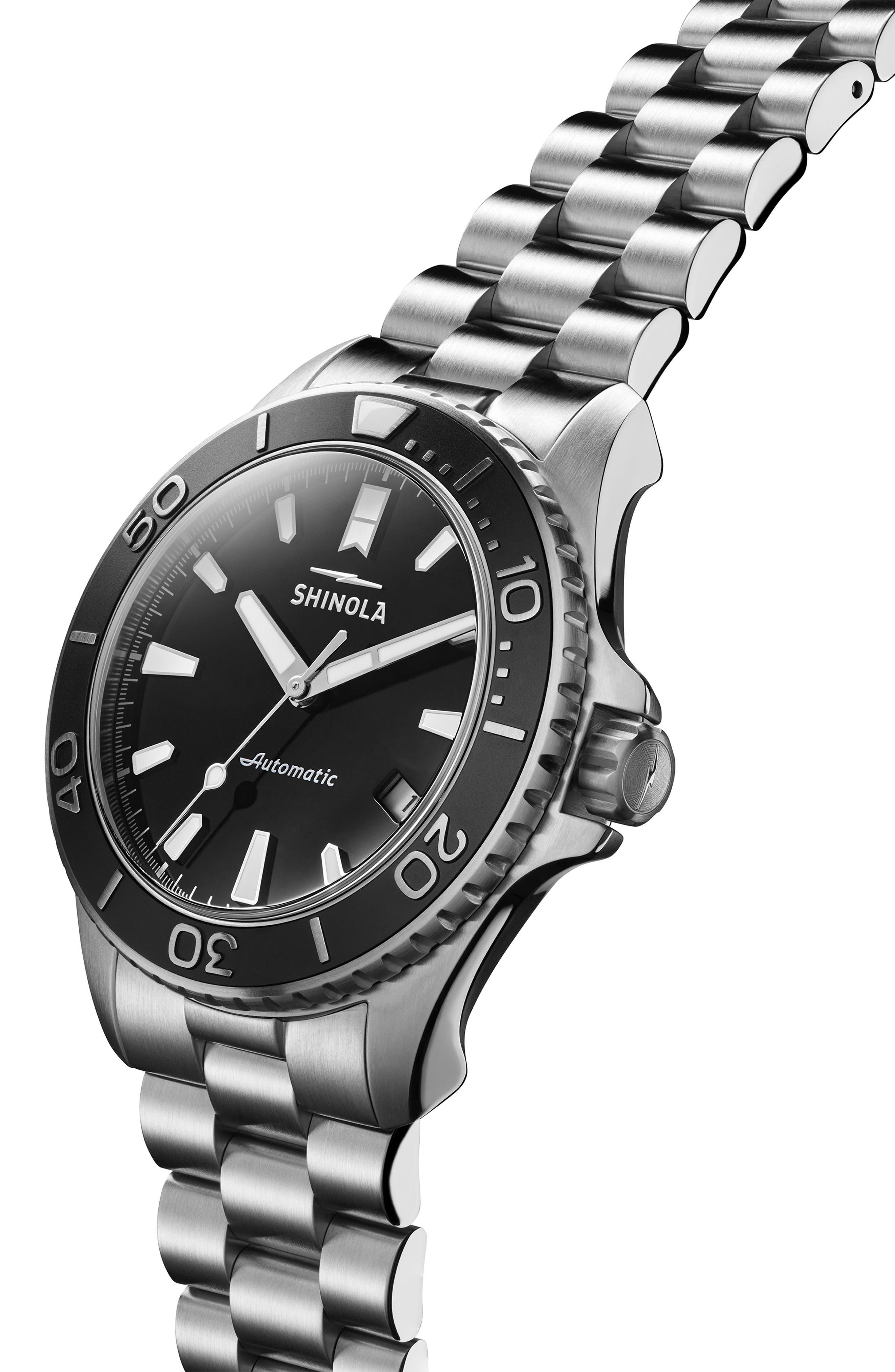 Monster Automatic Bracelet Watch, 43mm,                             Alternate thumbnail 5, color,                             SILVER/ BLACK
