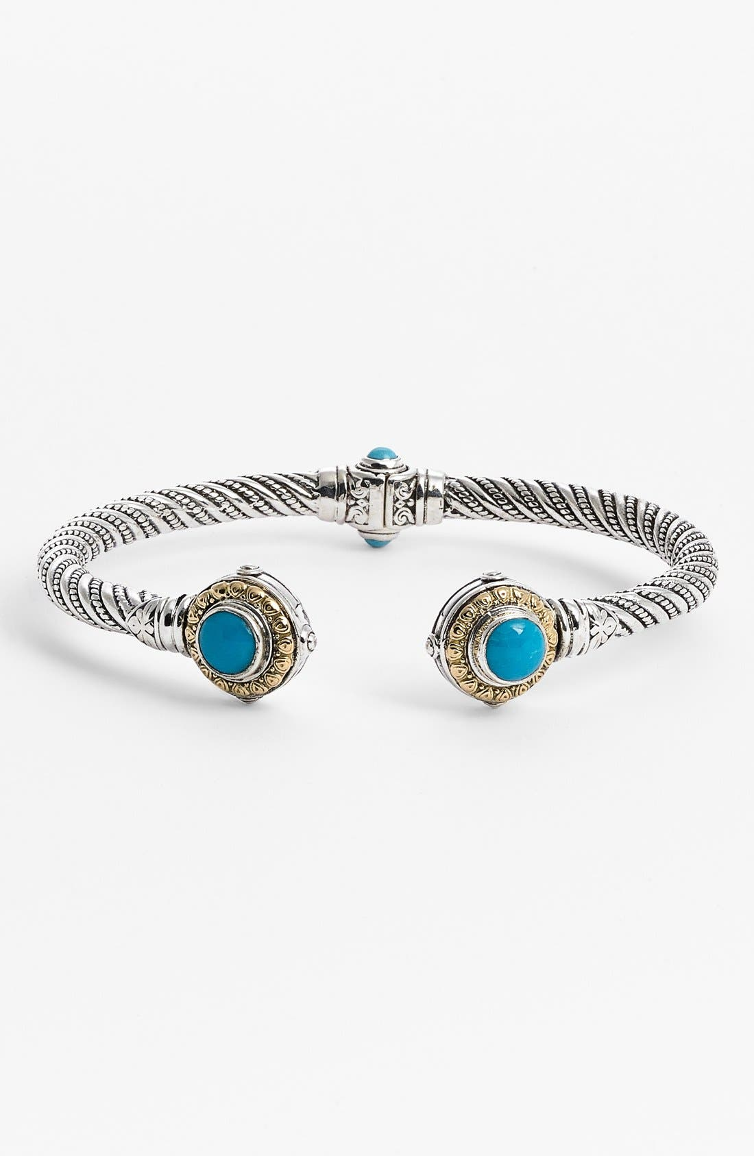 'Hermione' Hinged Cuff,                         Main,                         color, SILVER/ TURQUOISE