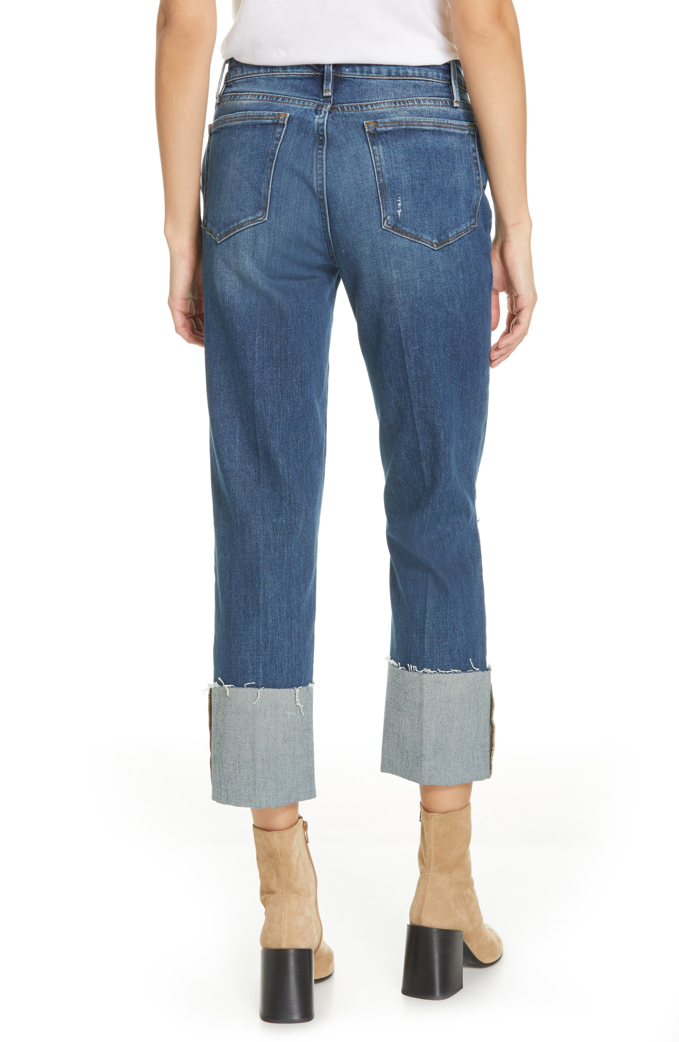 Le Nouveau Straight Leg Big Cuff Jeans,                             Alternate thumbnail 2, color,                             TEIGAN