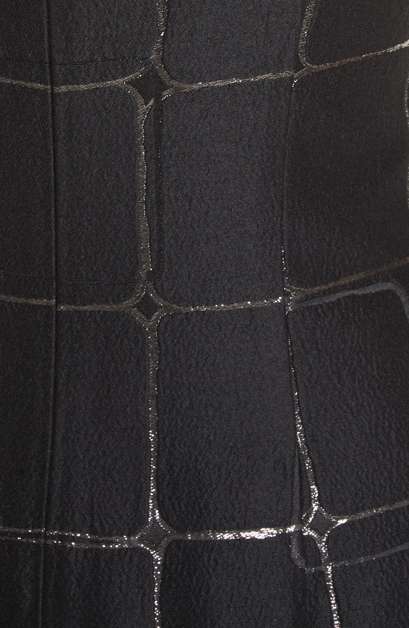 Metallic Jacquard Sheath Dress,                             Alternate thumbnail 5, color,                             001