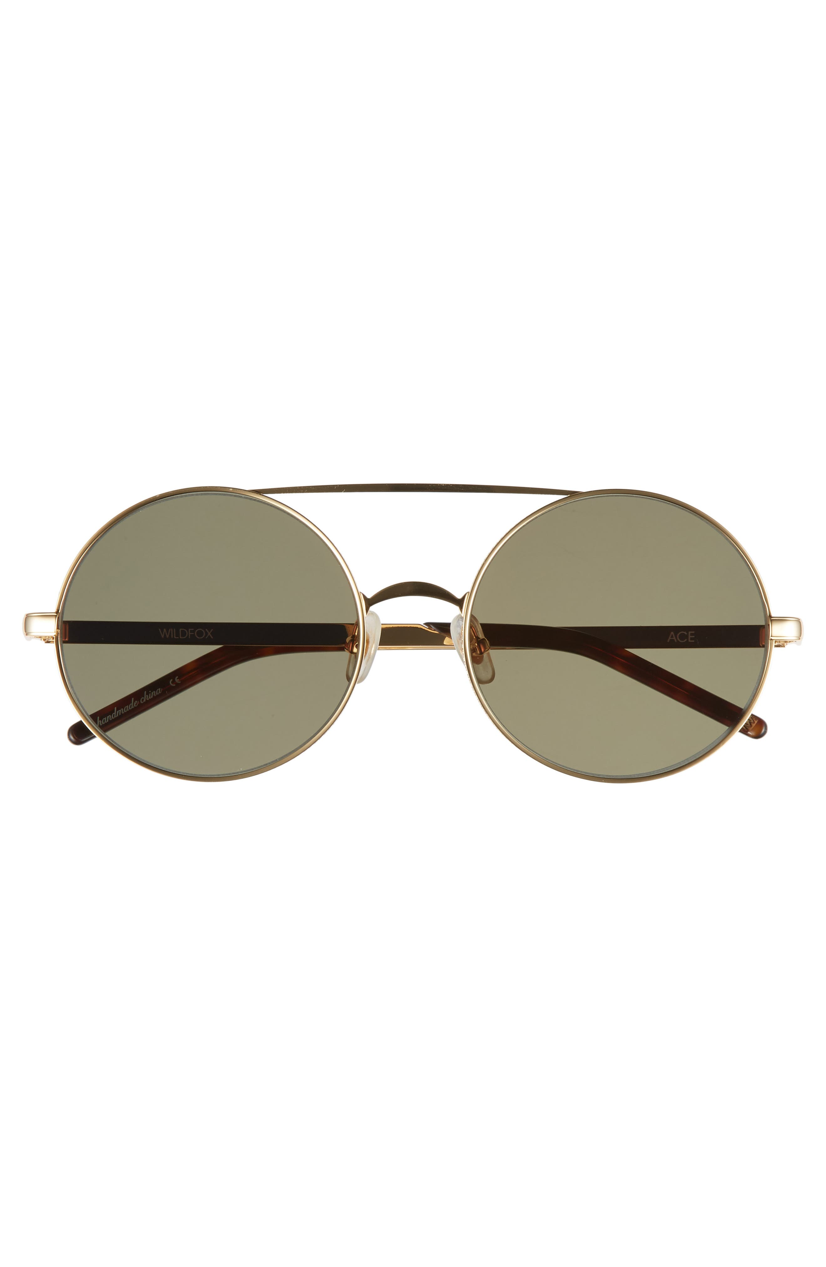 Ace 55mm Round Sunglasses,                             Alternate thumbnail 3, color,                             GOLD/ G 15 SOLID