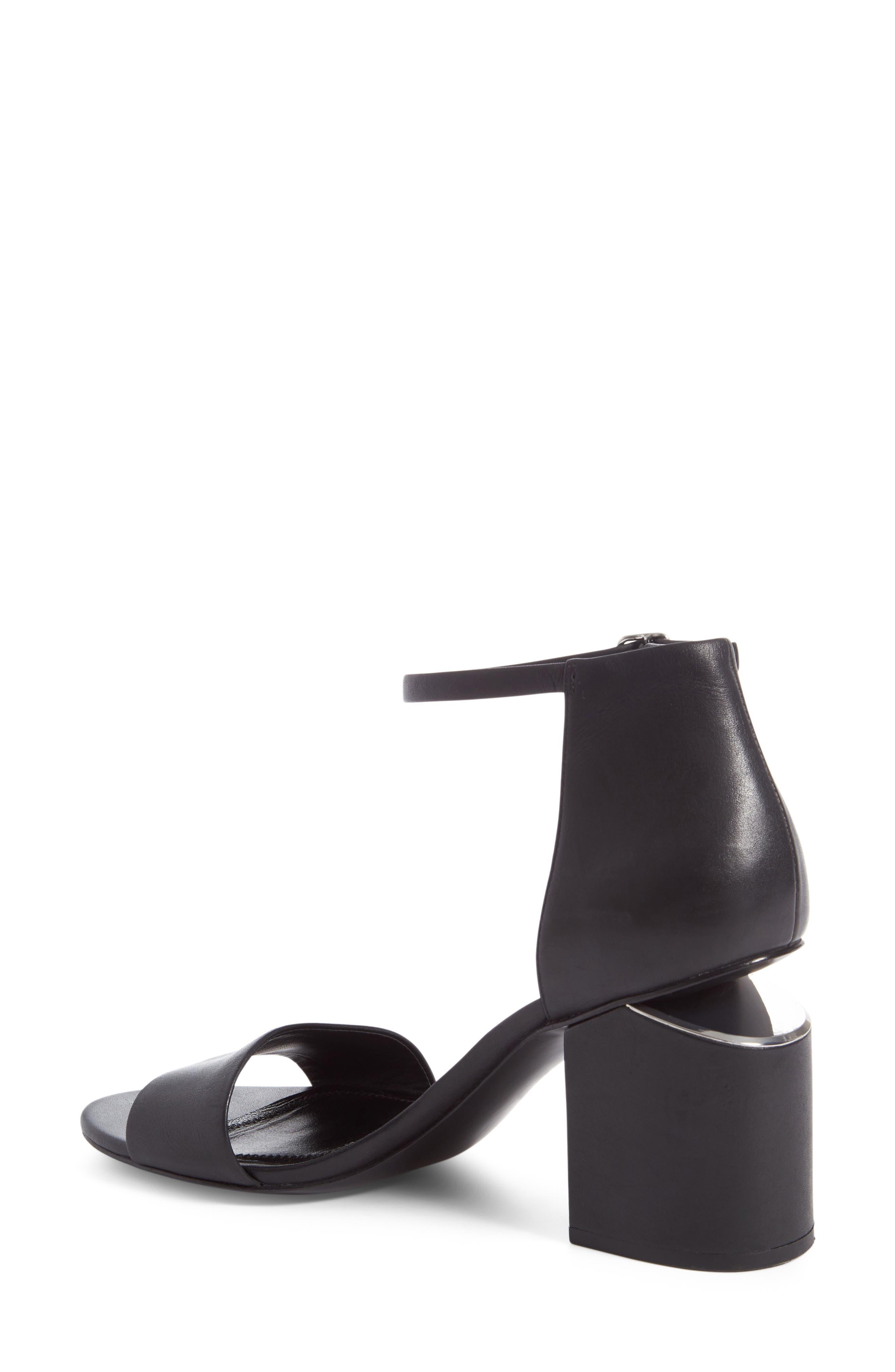 'Abby' Ankle Strap Sandal,                             Alternate thumbnail 3, color,                             BLACK