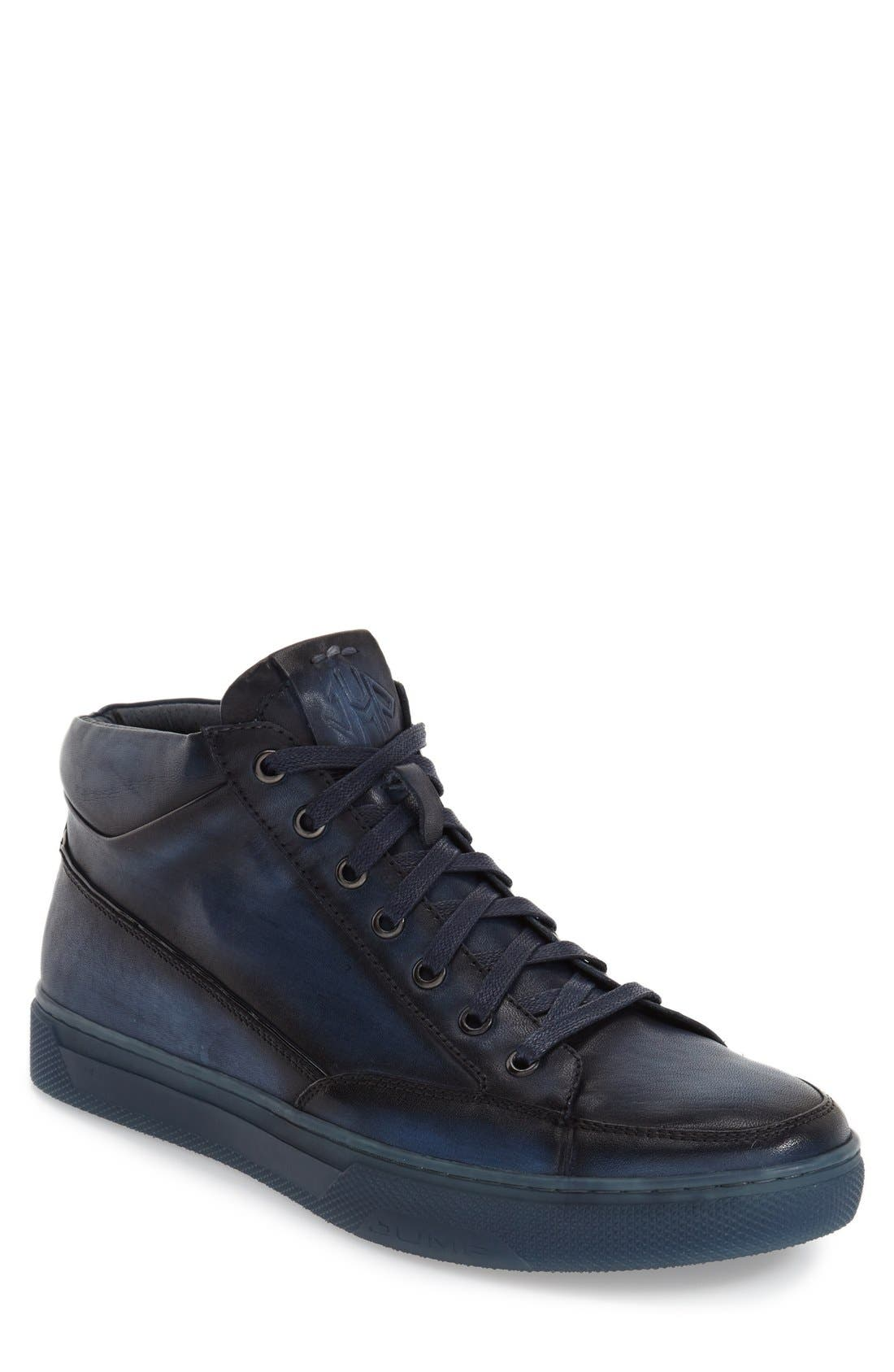 'Strickland' Sneaker,                         Main,                         color, NAVY LEATHER