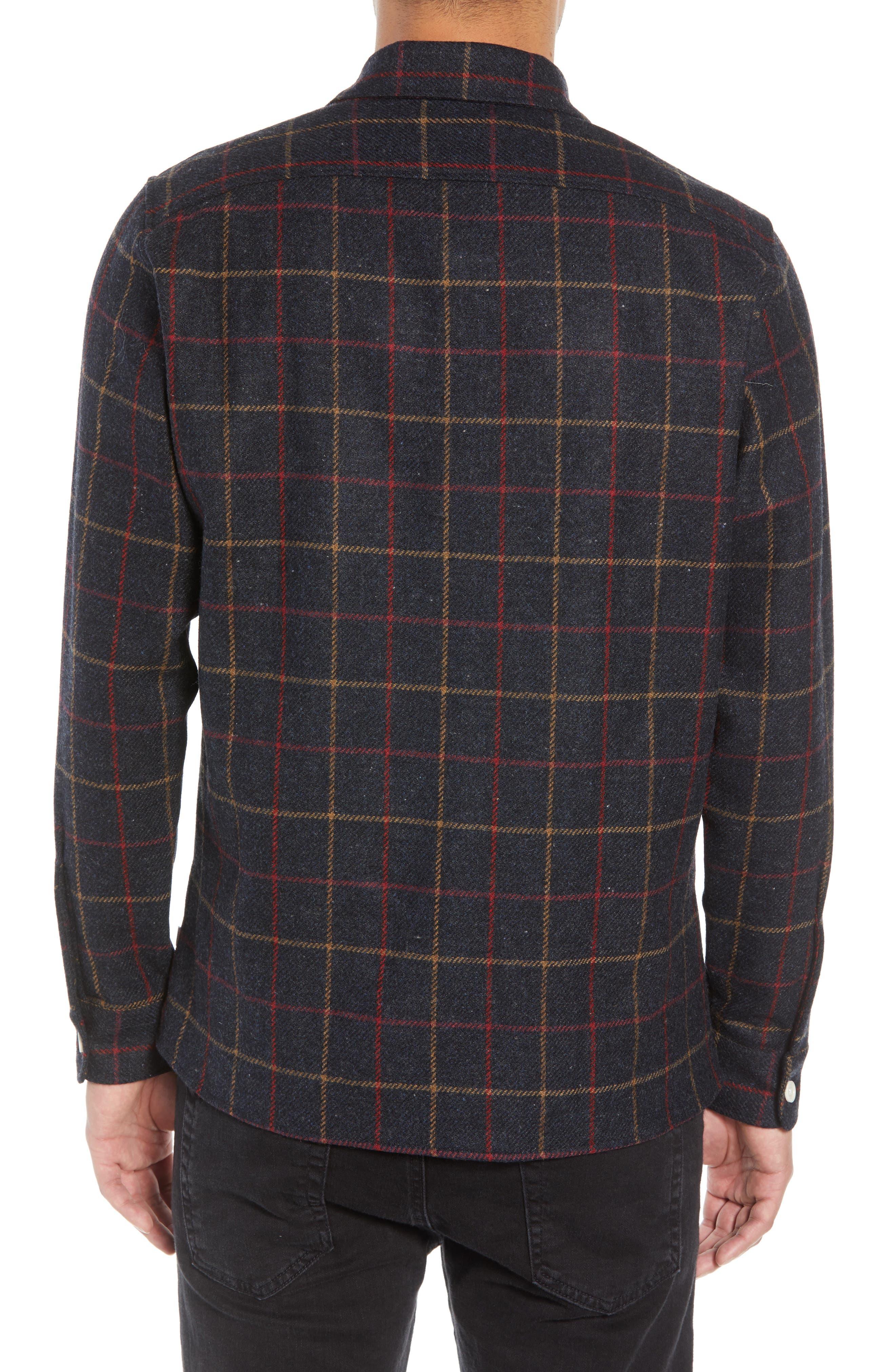 Whiting Tattersall Wool Shirt Jacket,                             Alternate thumbnail 3, color,                             BLACK WOOL CHECK