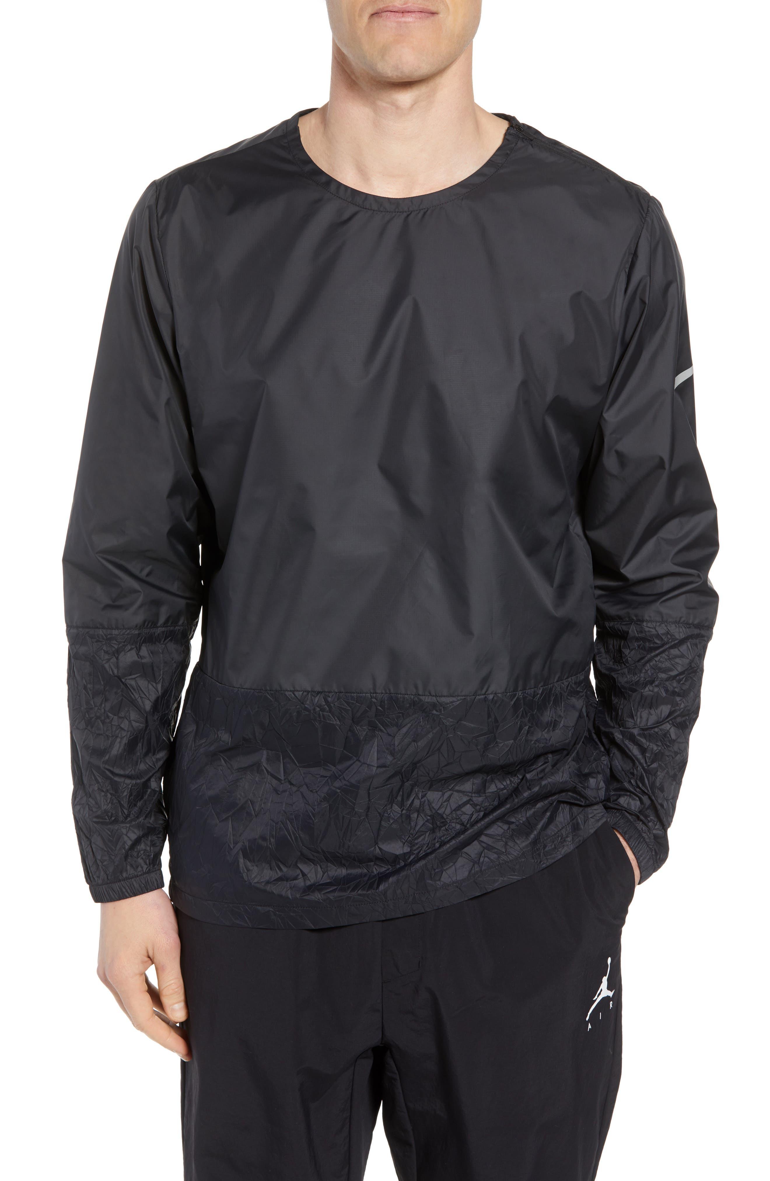 Long Sleeve Crinkle Crew Running Shirt,                         Main,                         color, BLACK
