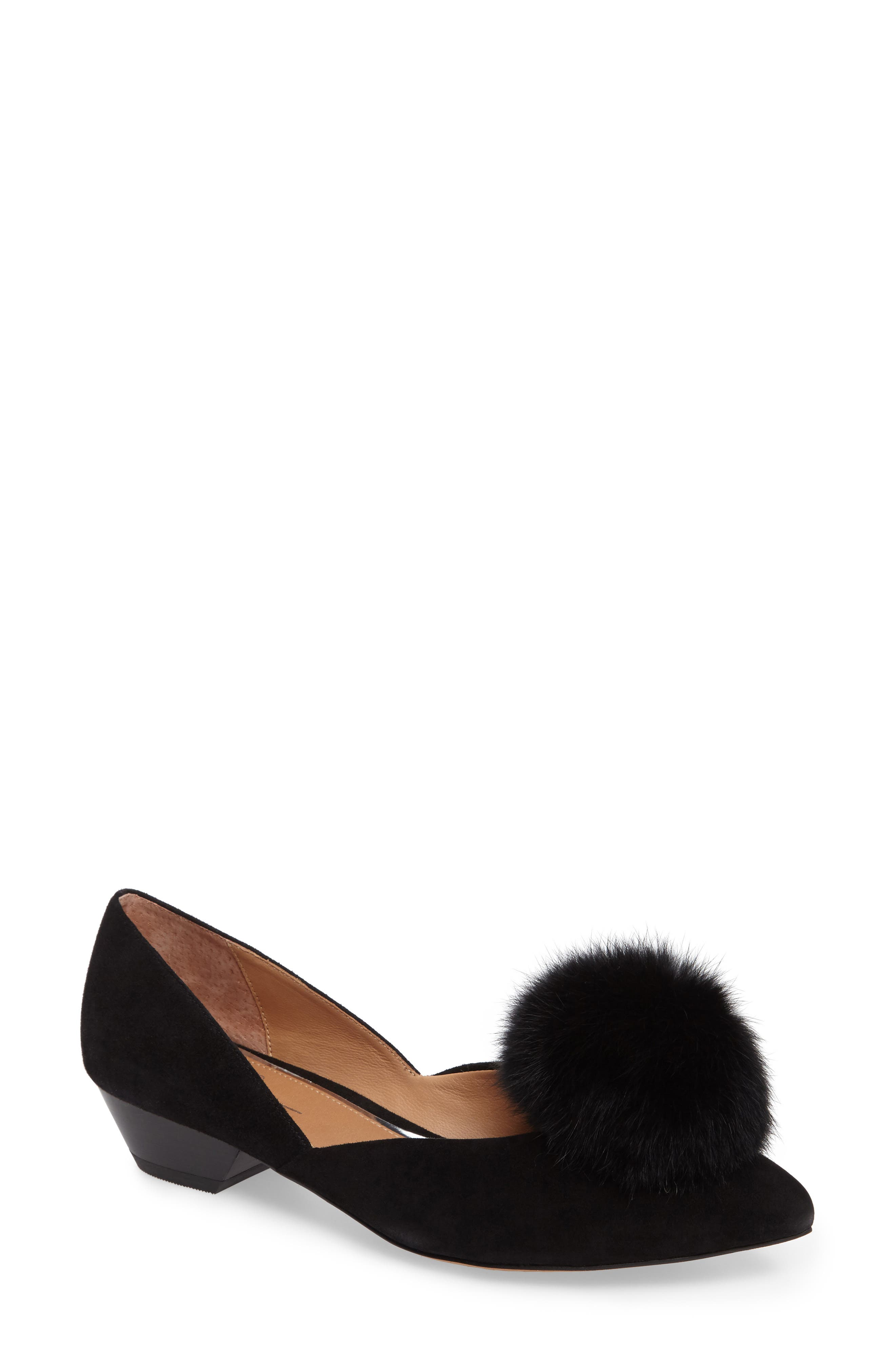 Camille Pump with Genuine Rabbit Fur Pom,                         Main,                         color, 002