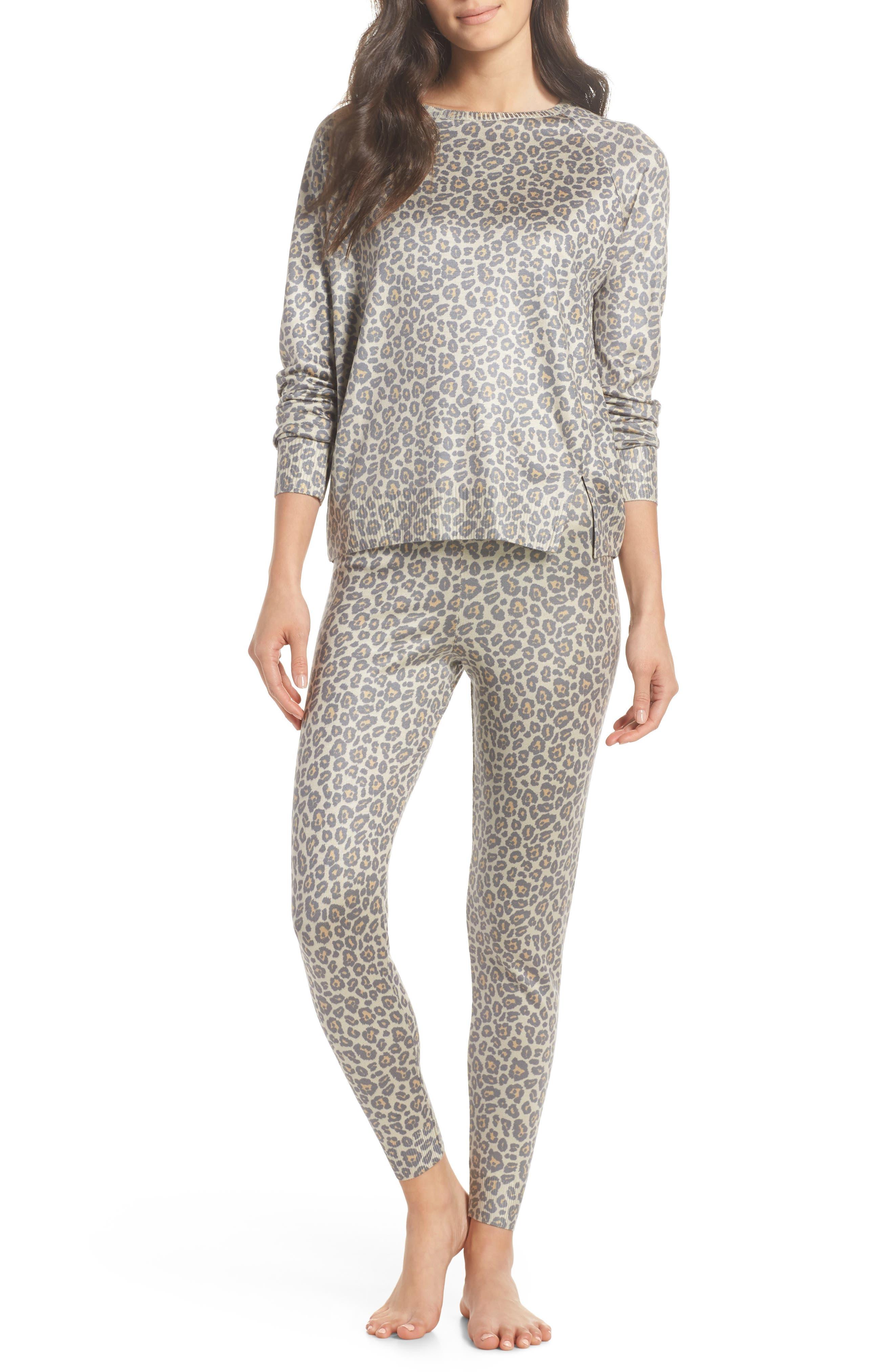 Leopard Knit Lounge Pant,                             Alternate thumbnail 7, color,                             BEIGE LEOPARD
