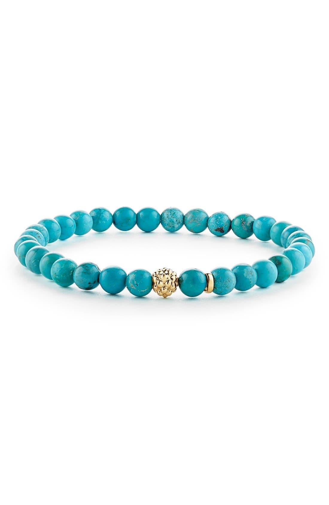 'Caviar Icon' Semiprecious Stone Bracelet,                             Main thumbnail 1, color,                             TURQUOISE/ GOLD