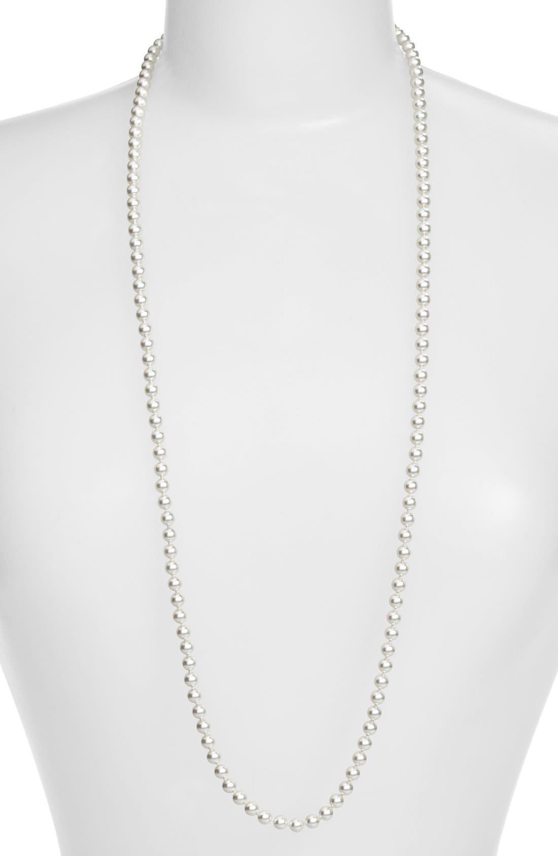 Imitation Pearl Long Necklace,                             Main thumbnail 1, color,                             RHODIUM