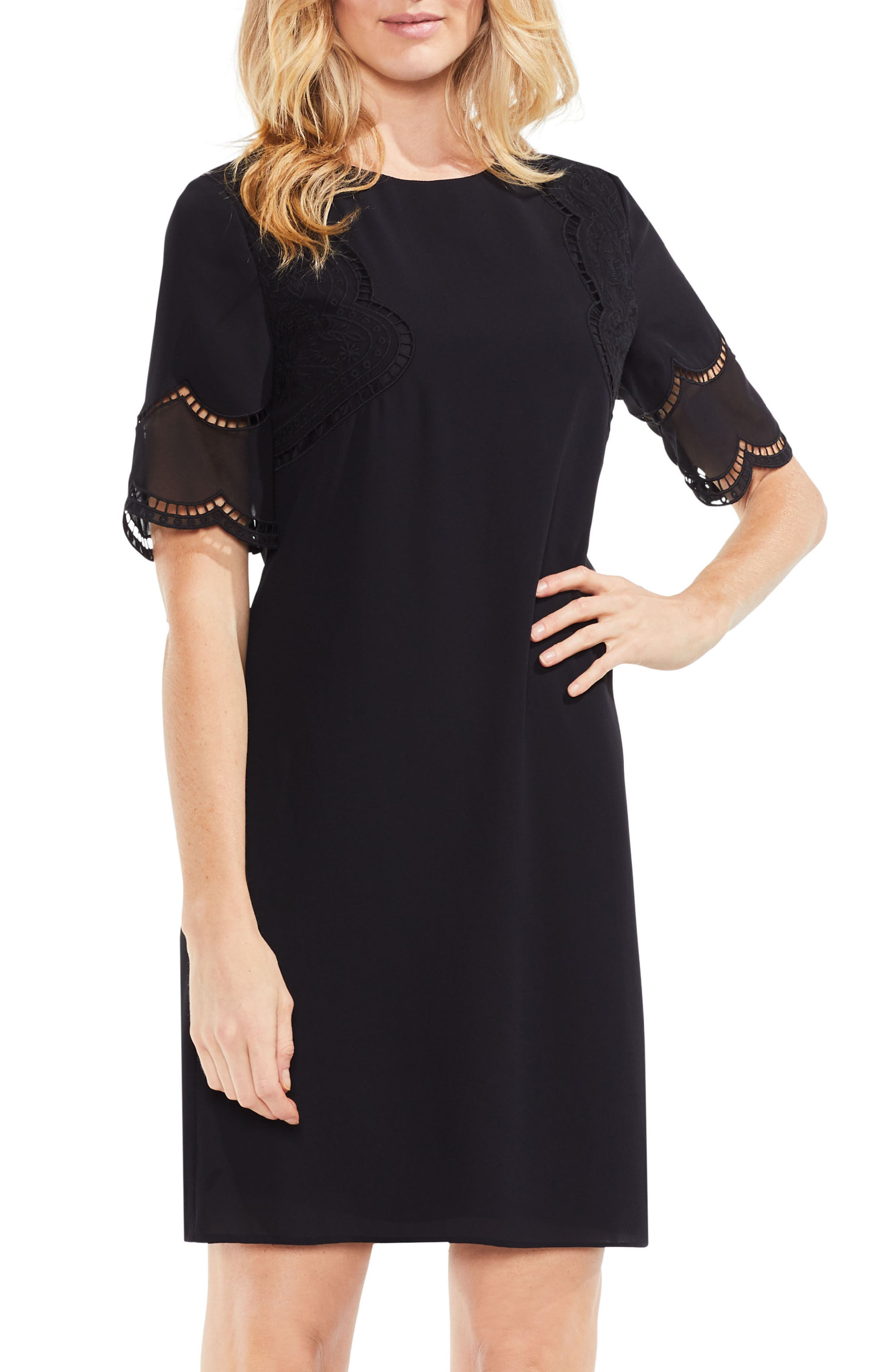 Embroidered Shift Dress,                             Main thumbnail 1, color,                             006