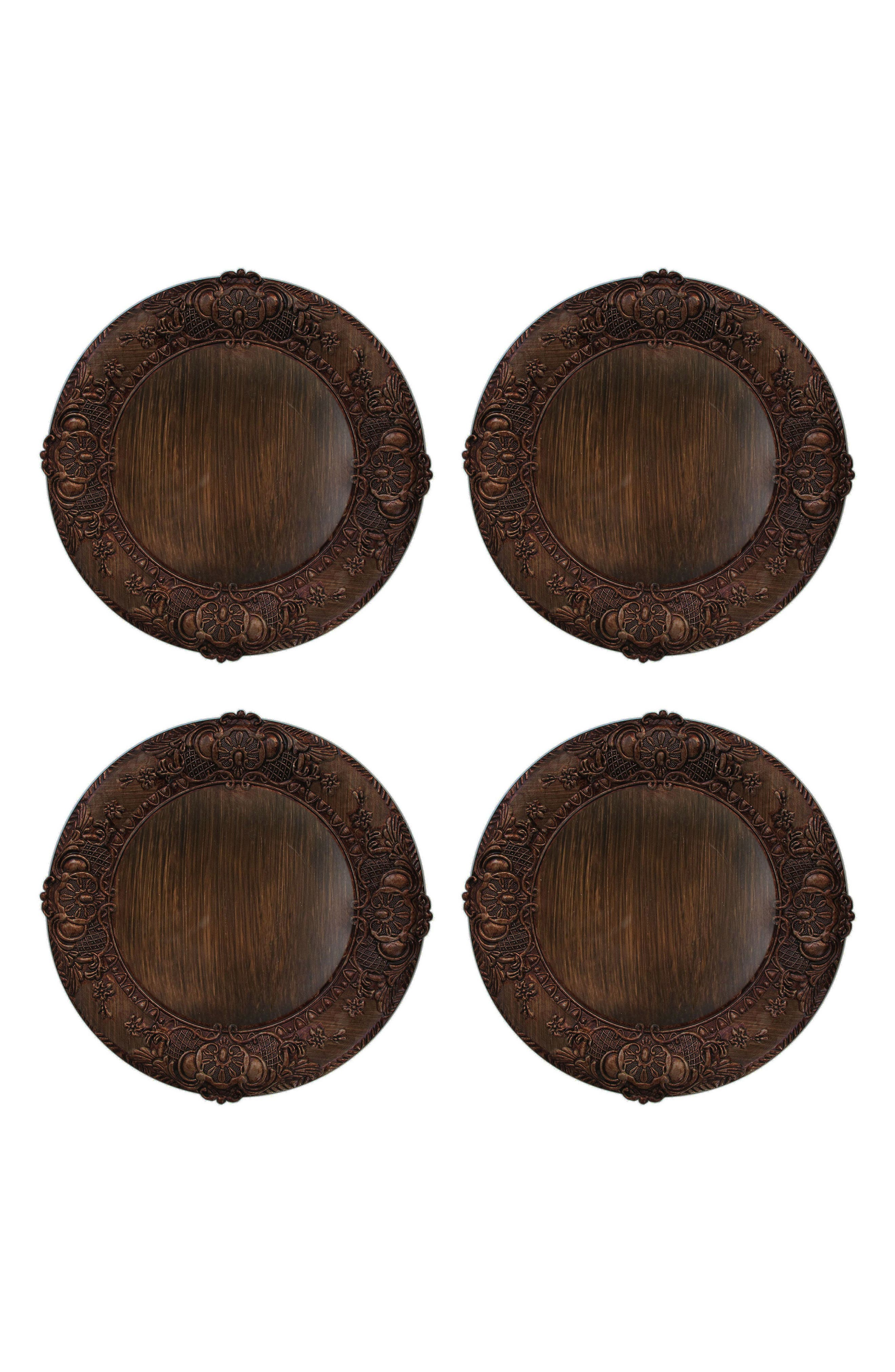 Set of 4 Embossed Charger Plates,                         Main,                         color, BROWN