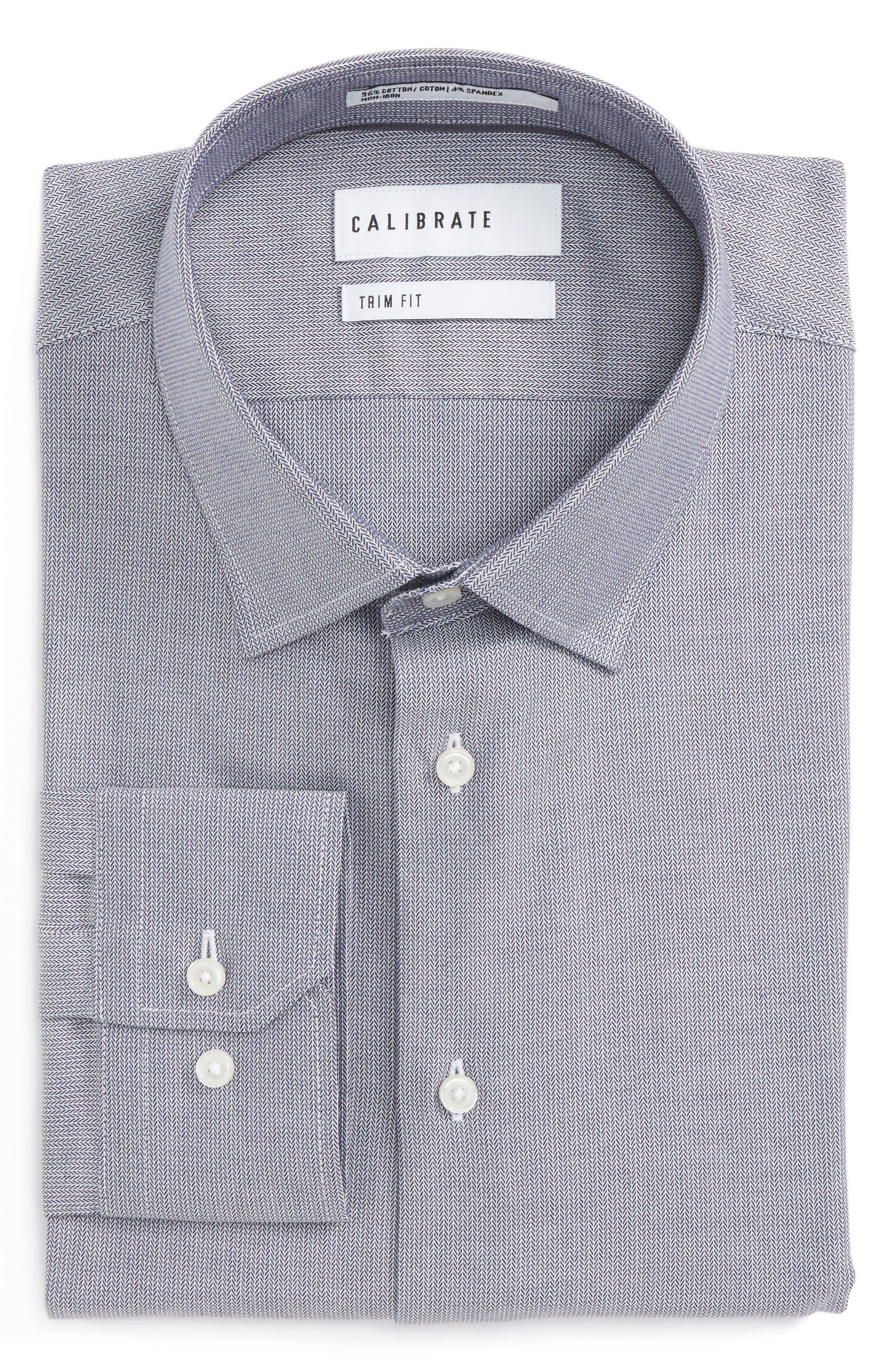 Trim Fit No-Iron Stretch Cotton Dress Shirt,                         Main,                         color, 021