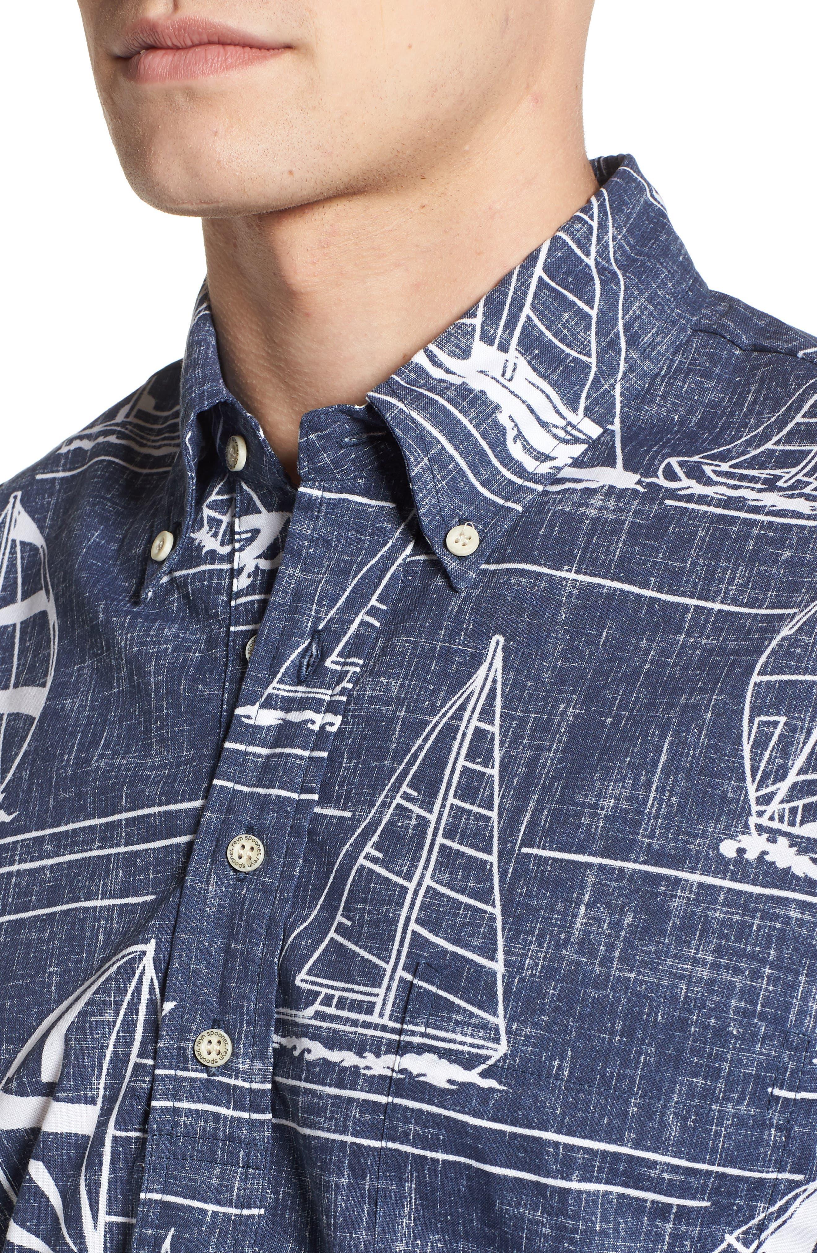 Newport 2 Honolulu Classic Fit Print Sport Shirt,                             Alternate thumbnail 4, color,                             INK