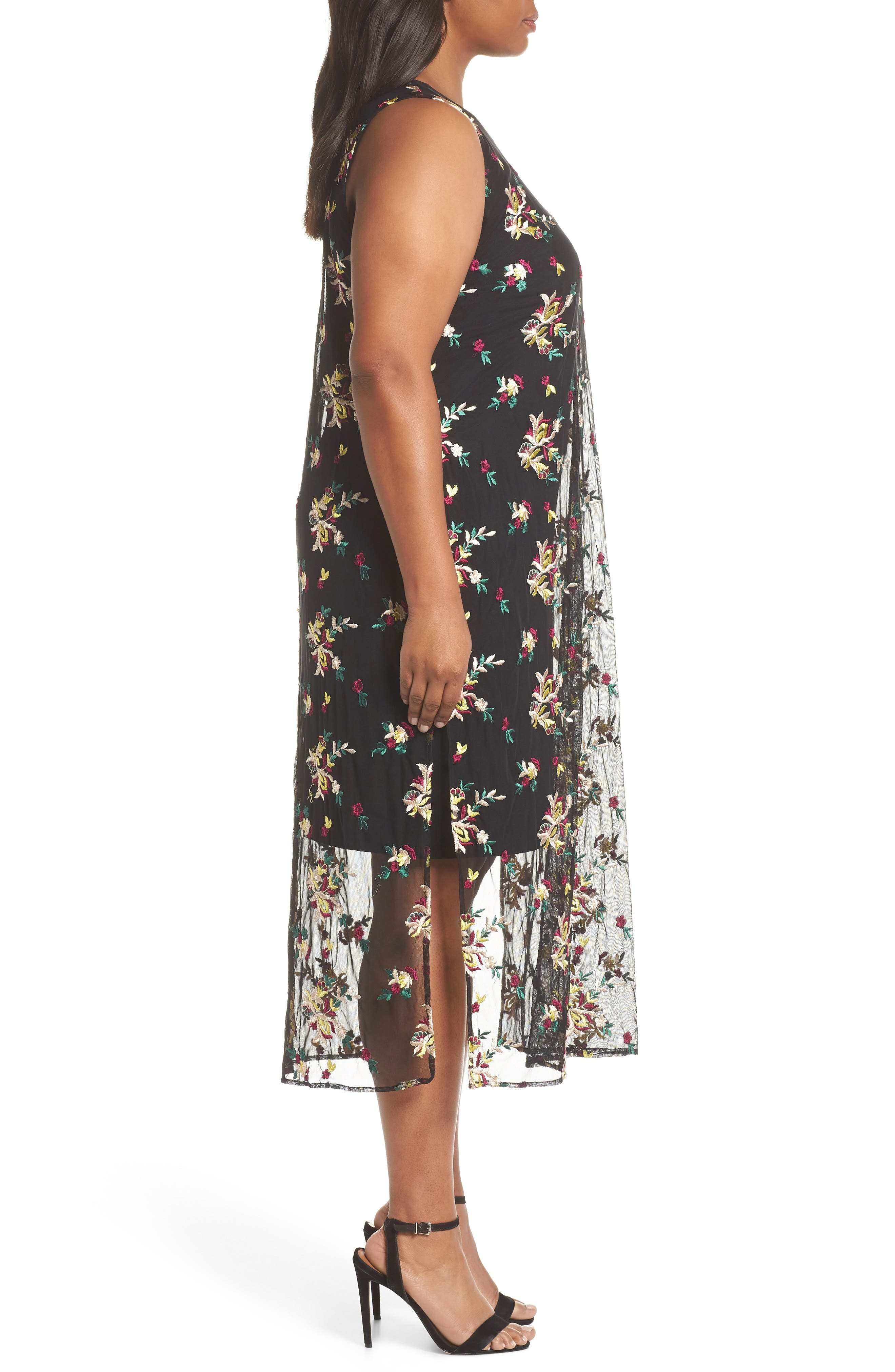 Tropical Embroidered Mesh Overlay Dress,                             Alternate thumbnail 3, color,                             RICH BLACK