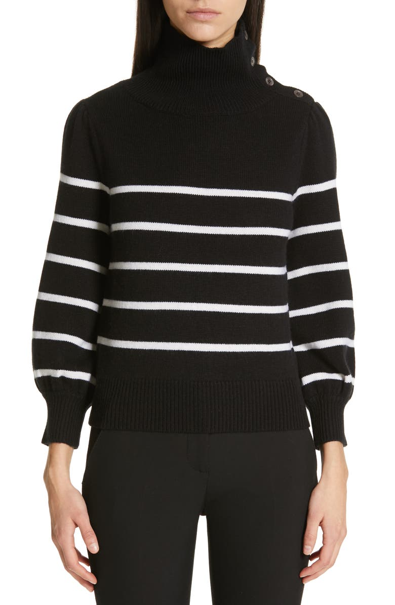 Co BUTTON SHOULDER STRIPE WOOL & CASHMERE SWEATER