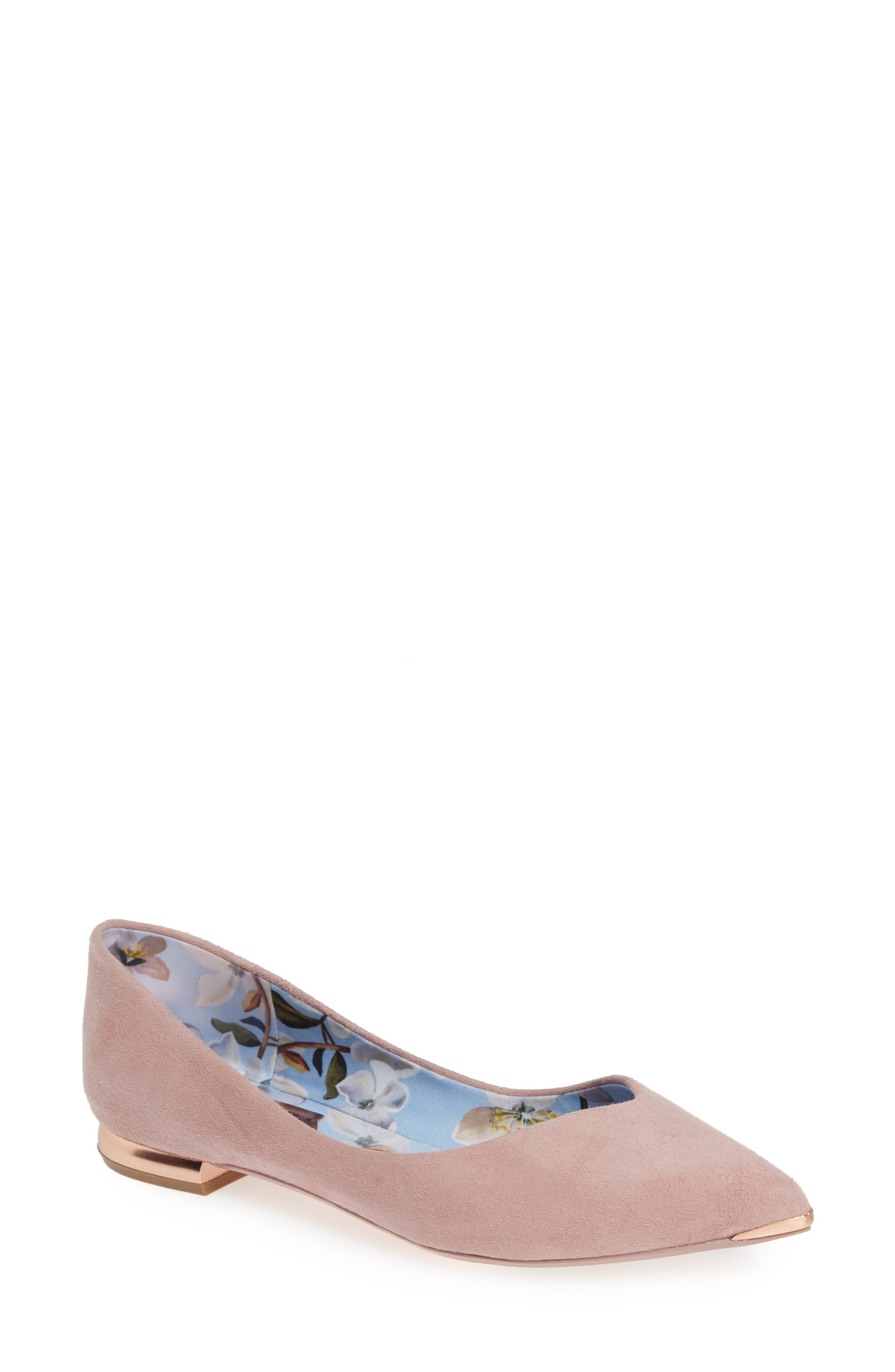 TED BAKER LONDON Mancies Pointy Toe Flat, Main, color, WINTER ROSE SUEDE