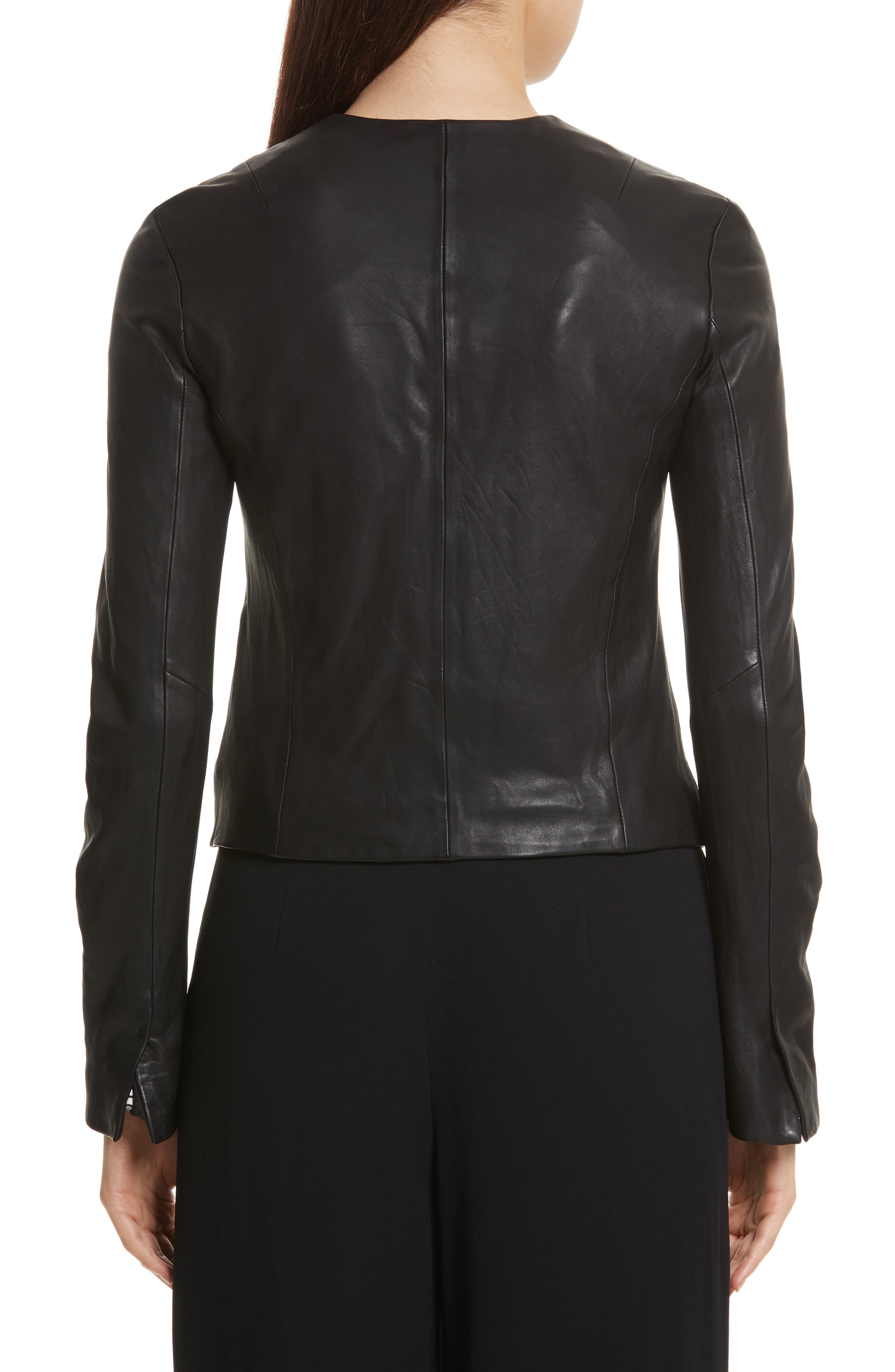 Cross Front Leather Jacket,                             Alternate thumbnail 2, color,                             001