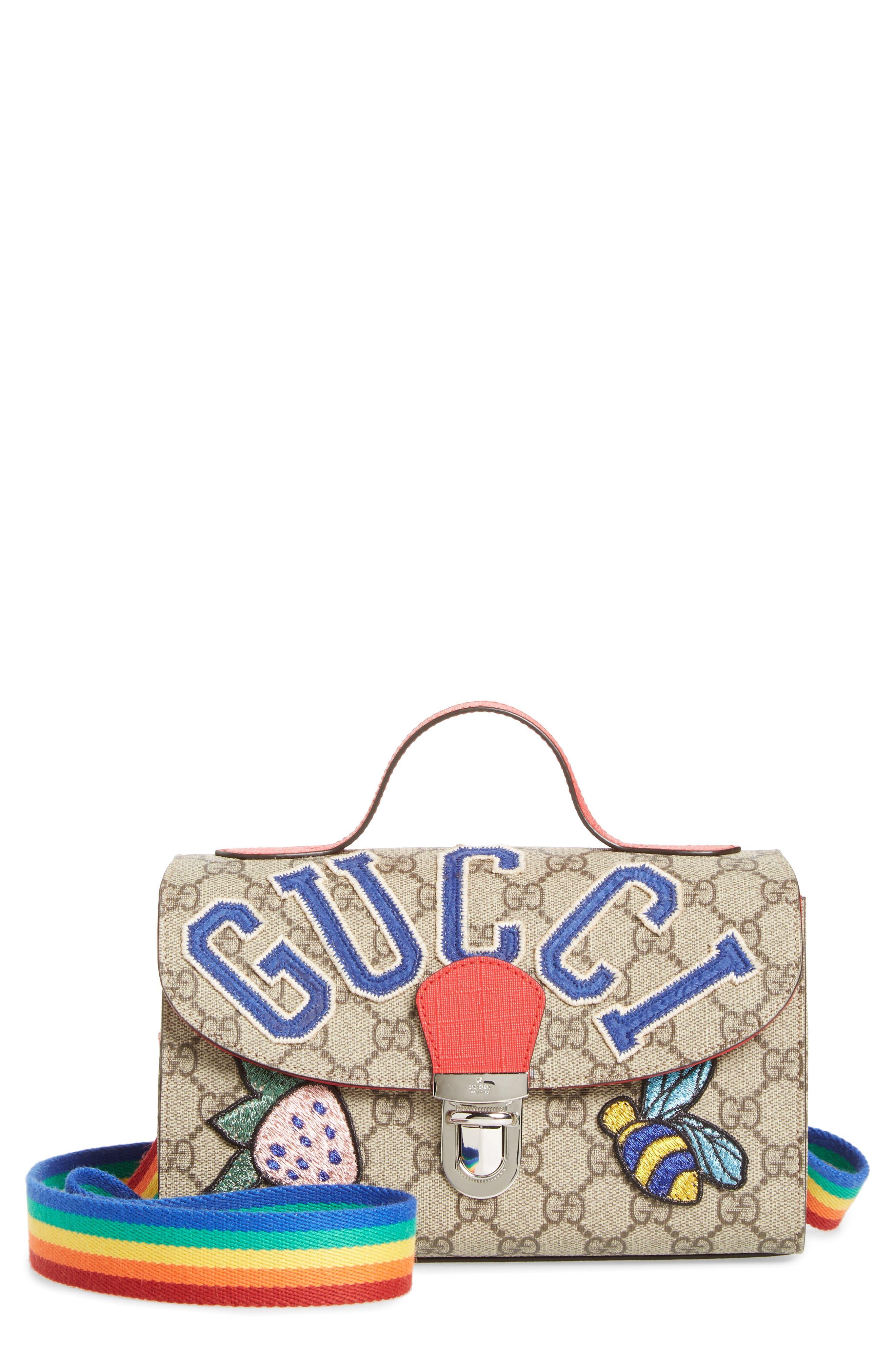 GUCCI,                             Junior GG Supreme Canvas Top Handle Bag,                             Main thumbnail 1, color,                             NERO/ VRV