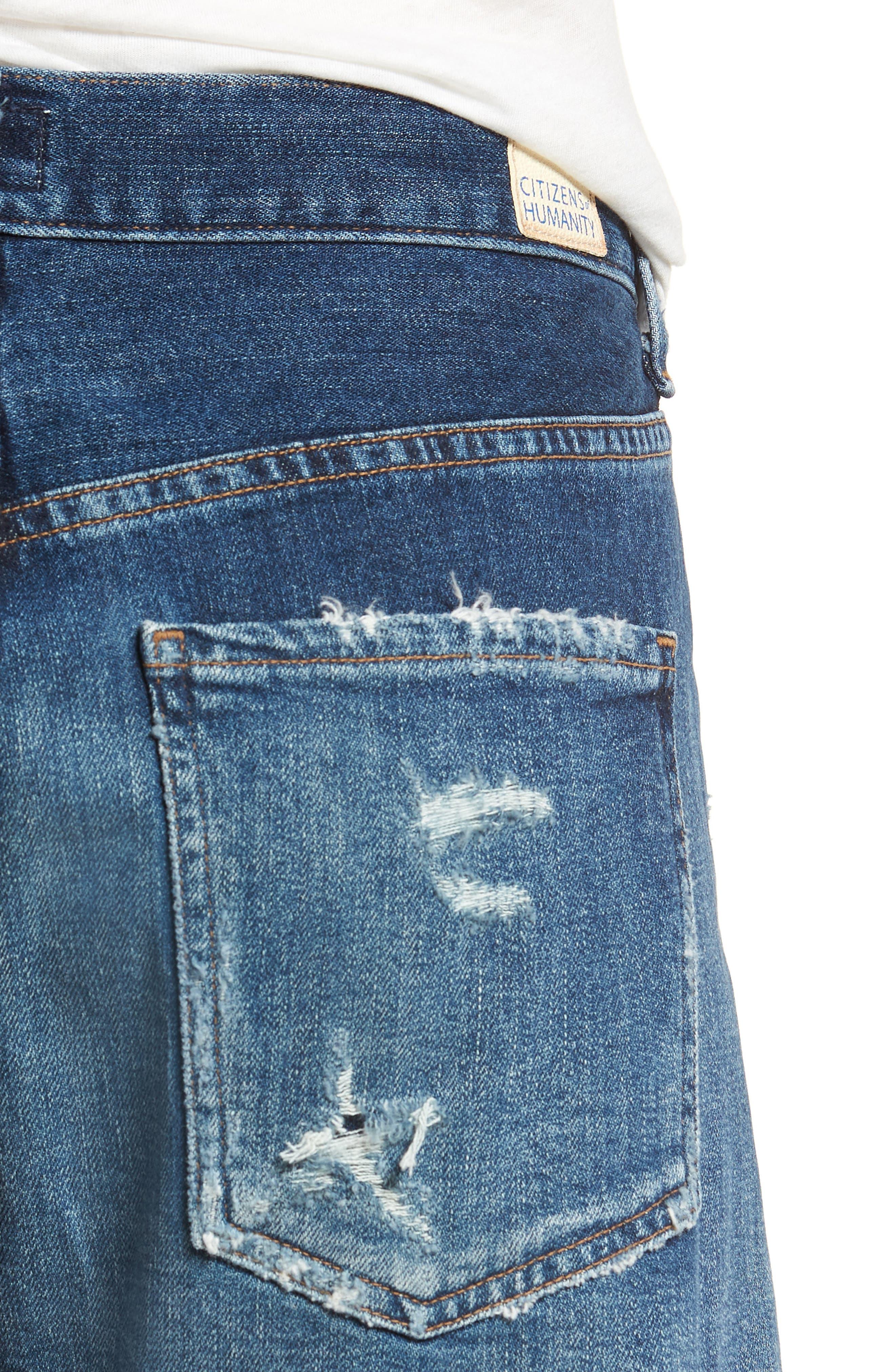 Corey Distressed Slouchy Denim Shorts,                             Alternate thumbnail 4, color,                             423