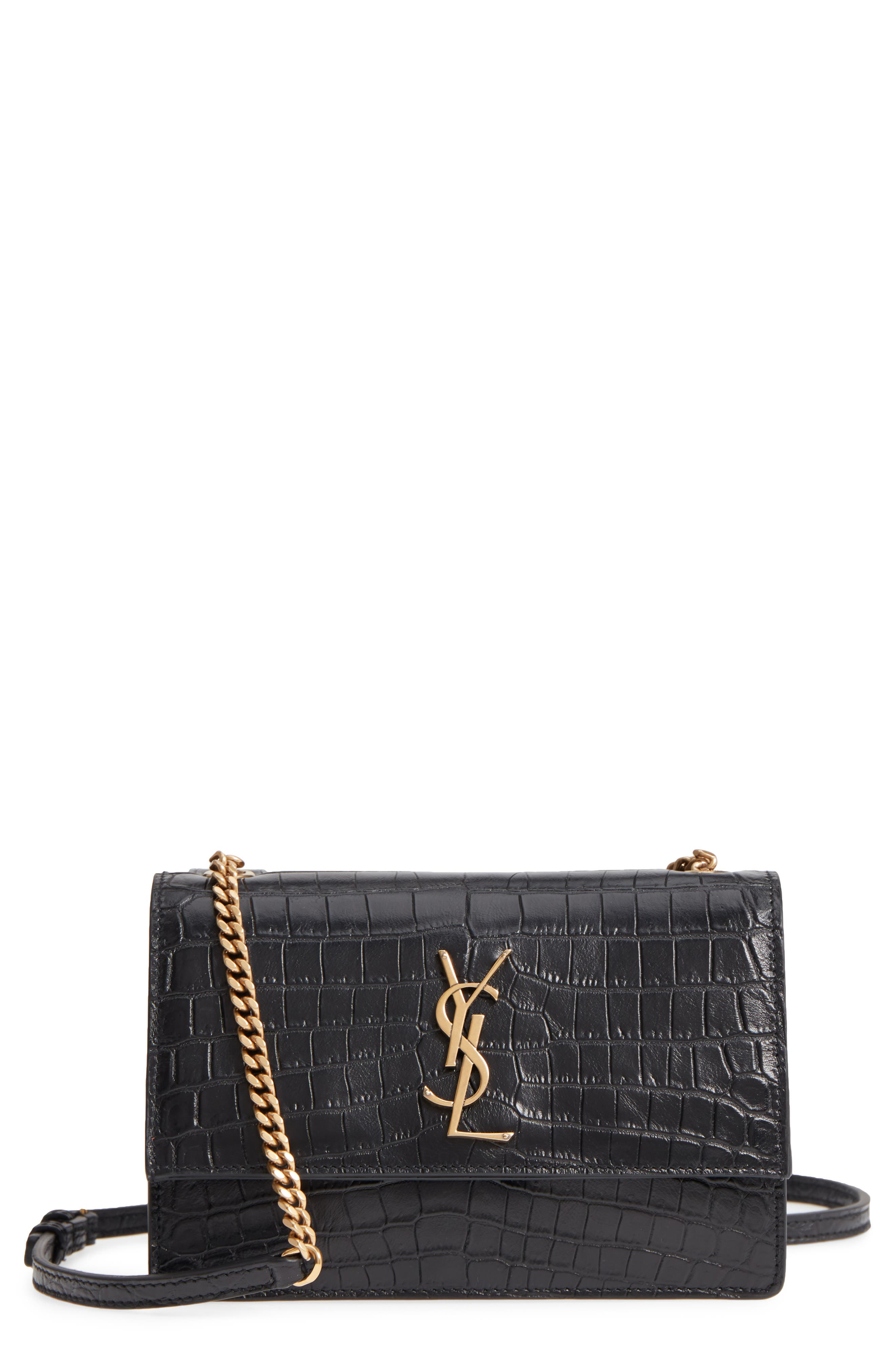 Small Sunset Croc Embossed Leather Shoulder Bag,                         Main,                         color, NERO