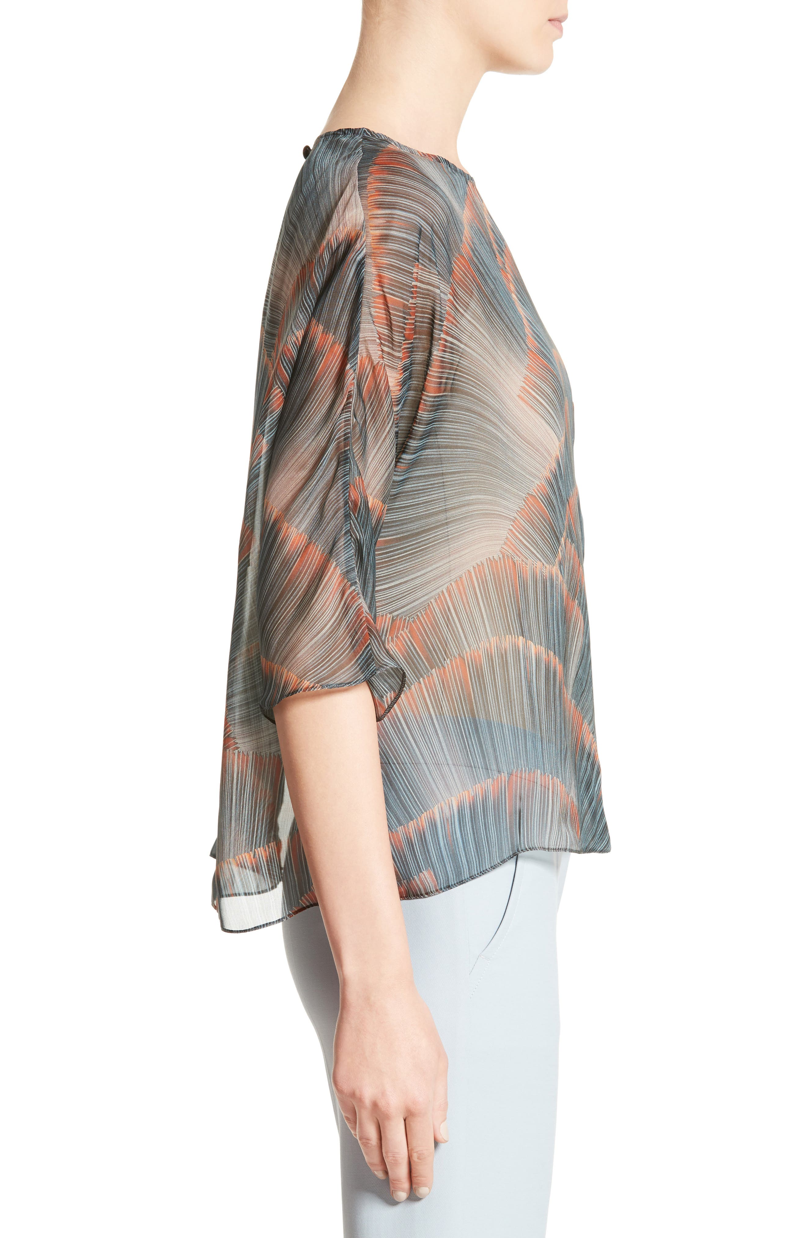 Feather Print Mulberry Silk Blouse,                             Alternate thumbnail 3, color,