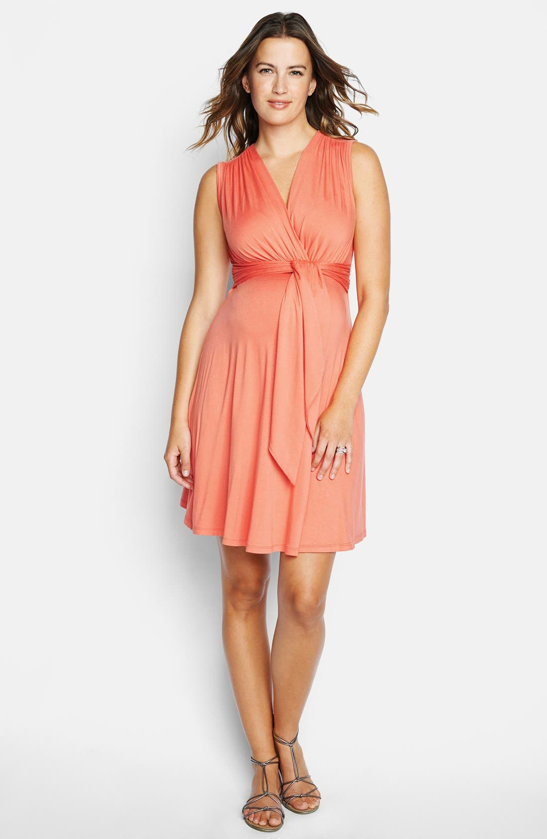 Tie Front Maternity Dress,                         Main,                         color, CORAL