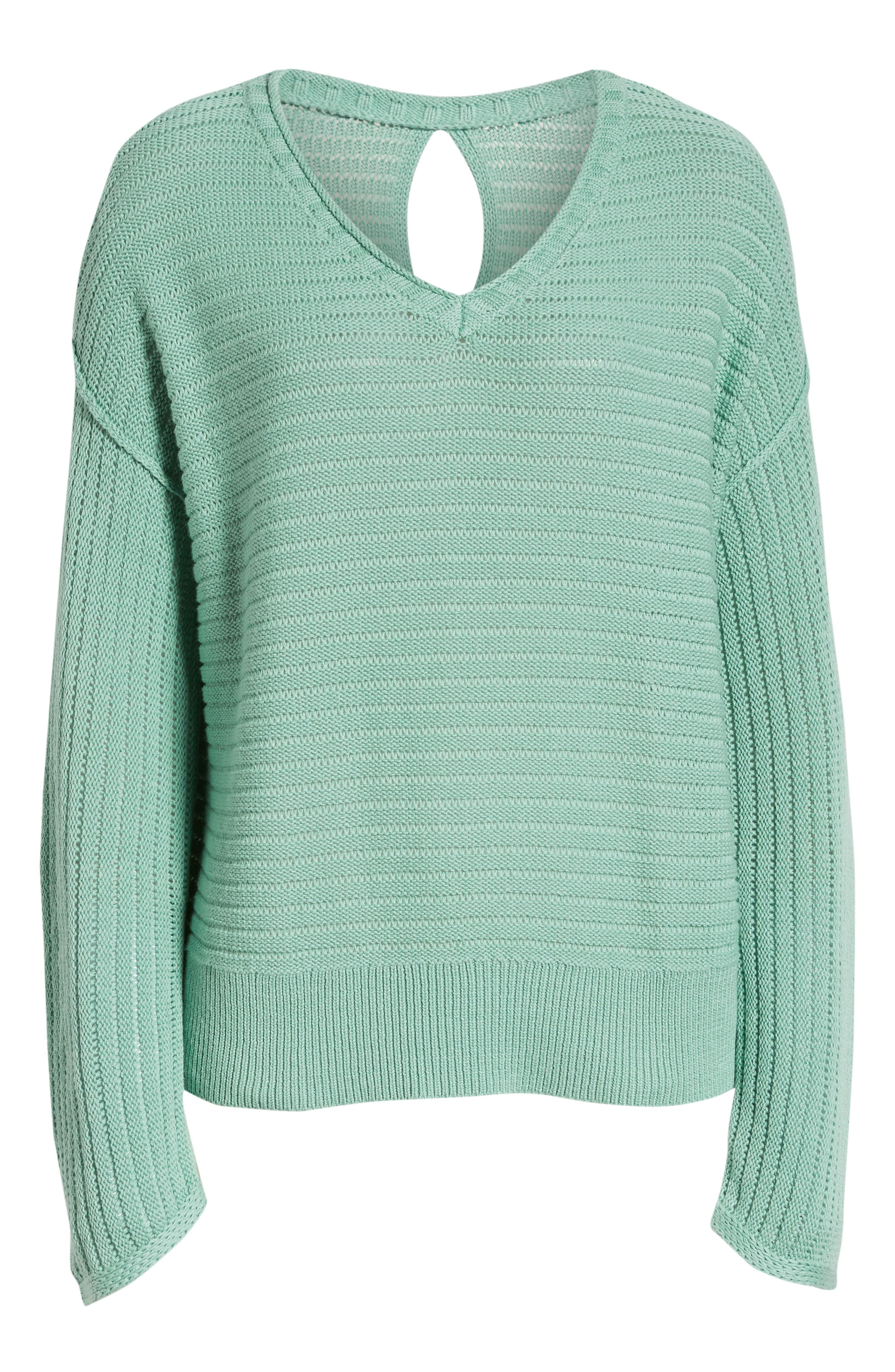 Tuck Stitch V-Neck Sweater,                             Alternate thumbnail 6, color,                             GREEN WING