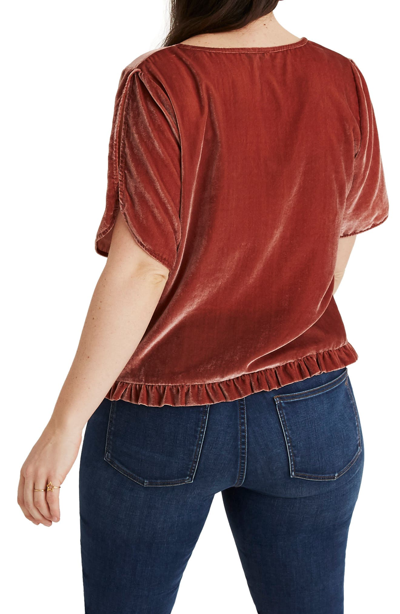 Ruffle Tulip Sleeve Velvet Top,                             Alternate thumbnail 7, color,                             AFTERGLOW RED
