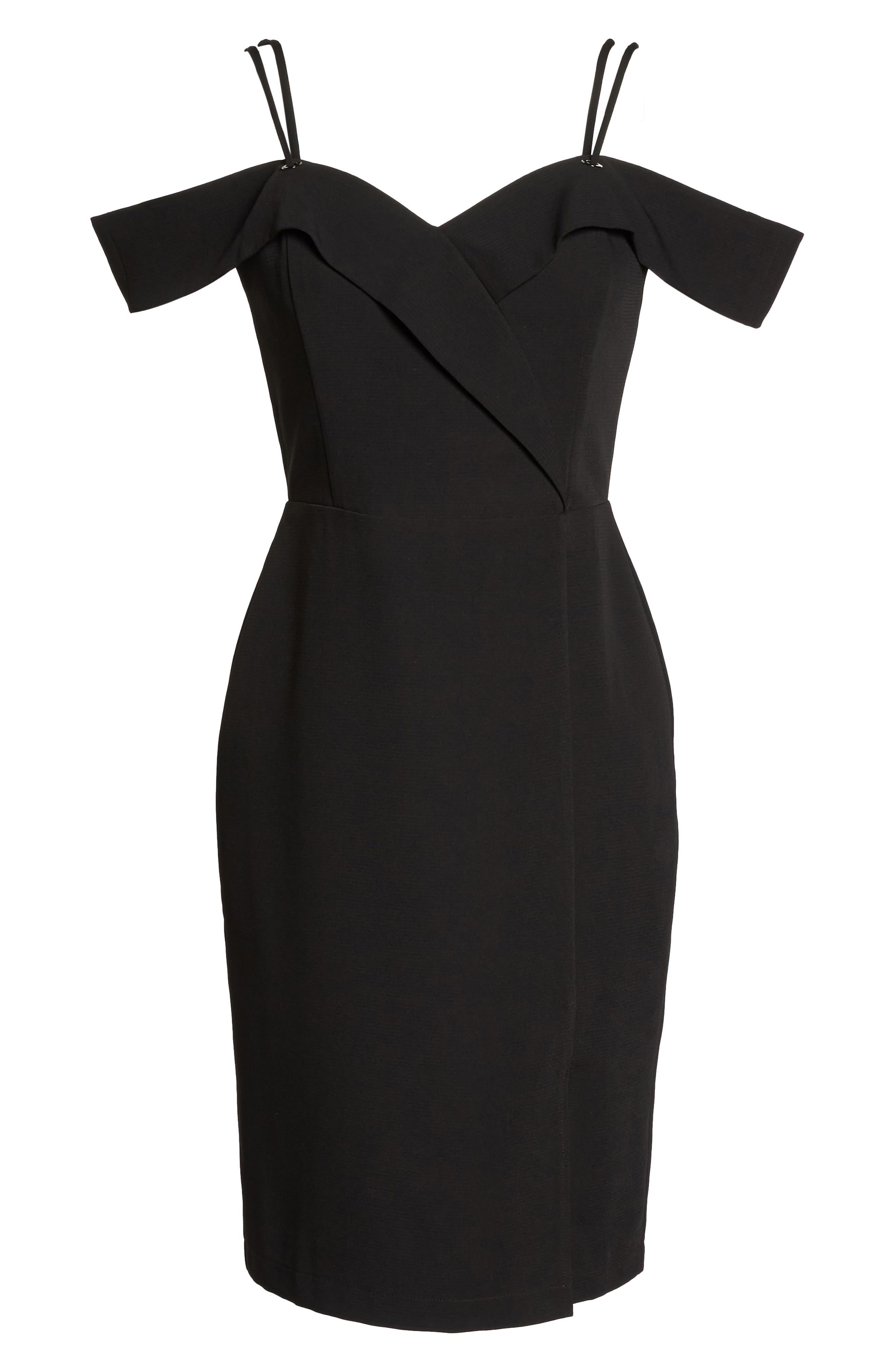 Shelby Cold Shoulder Sheath Dress,                             Alternate thumbnail 6, color,                             001