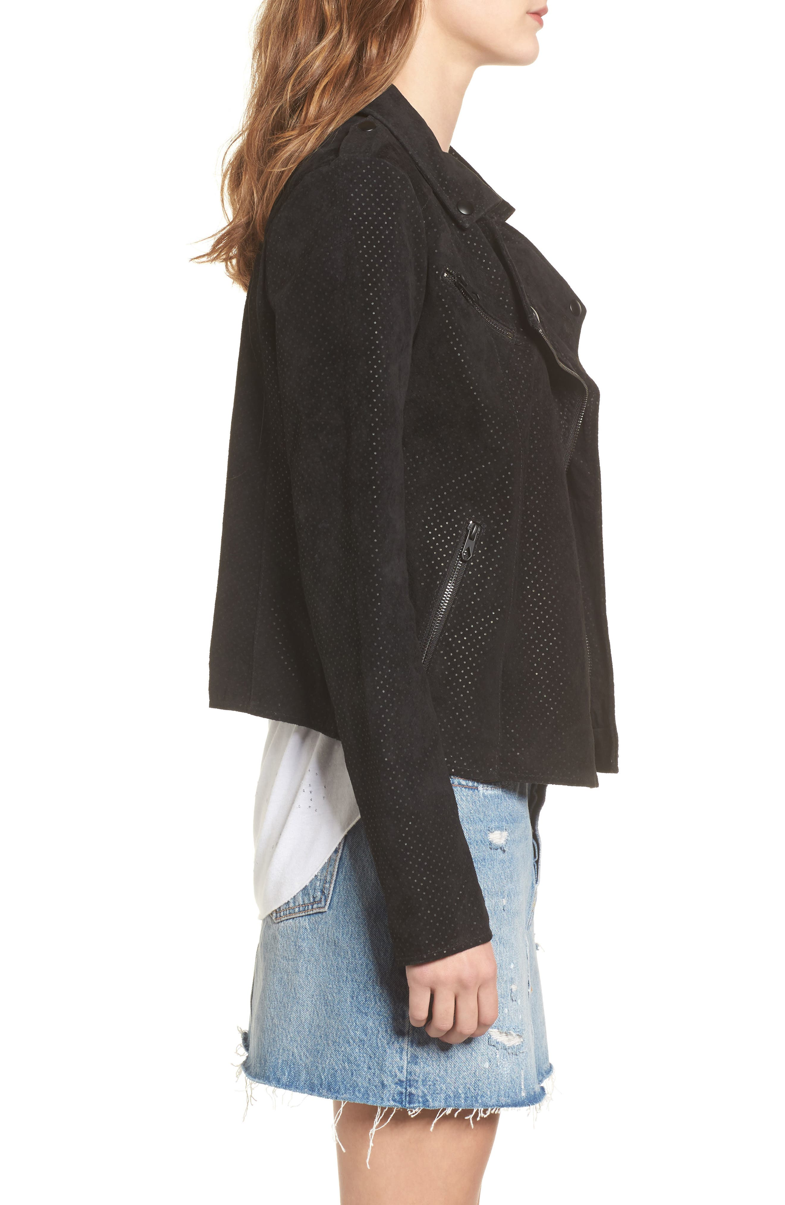 Motorin Suede Jacket,                             Alternate thumbnail 3, color,                             001