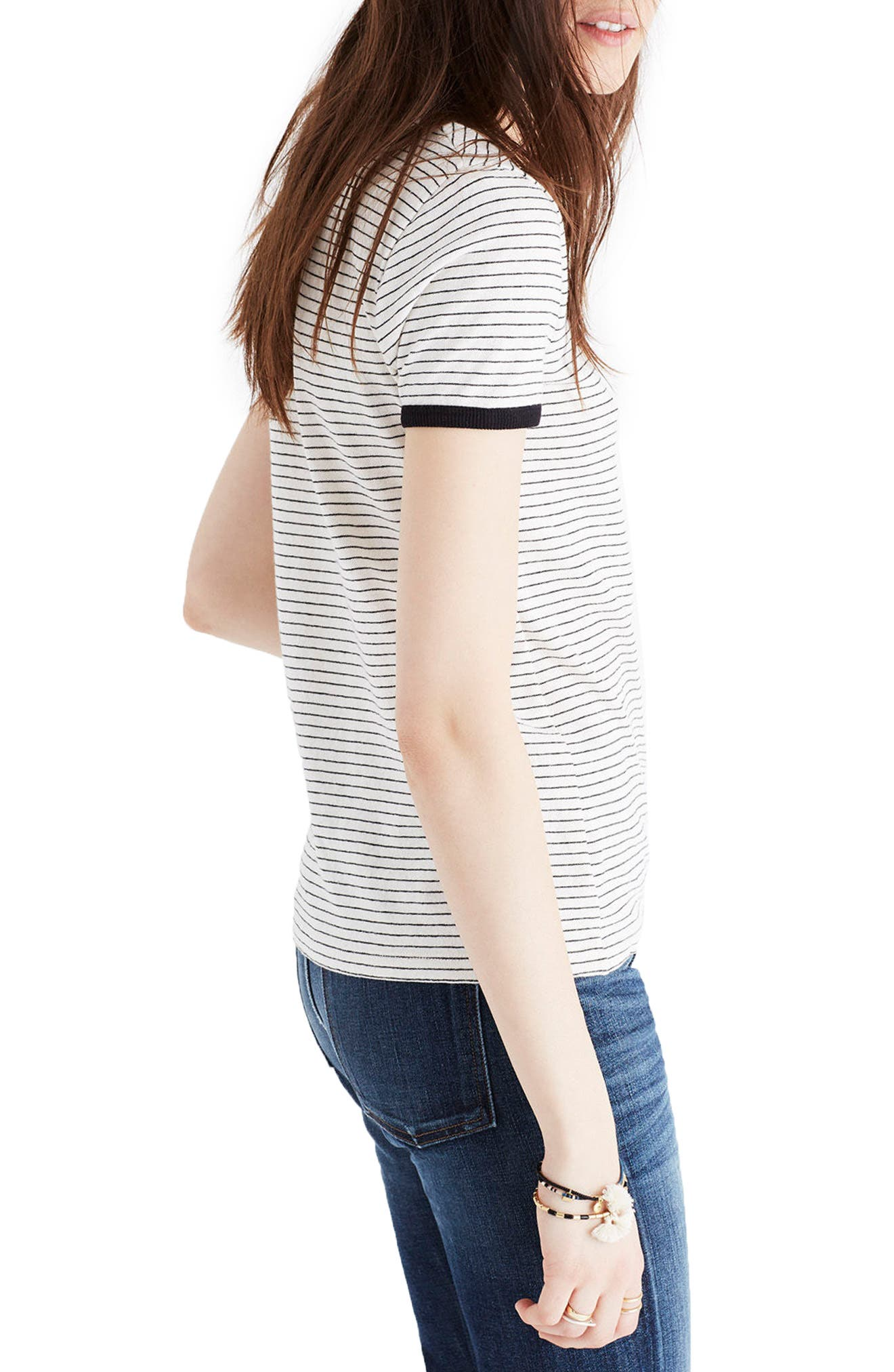 Stripe Recycled Cotton Ringer Tee,                             Alternate thumbnail 3, color,                             009