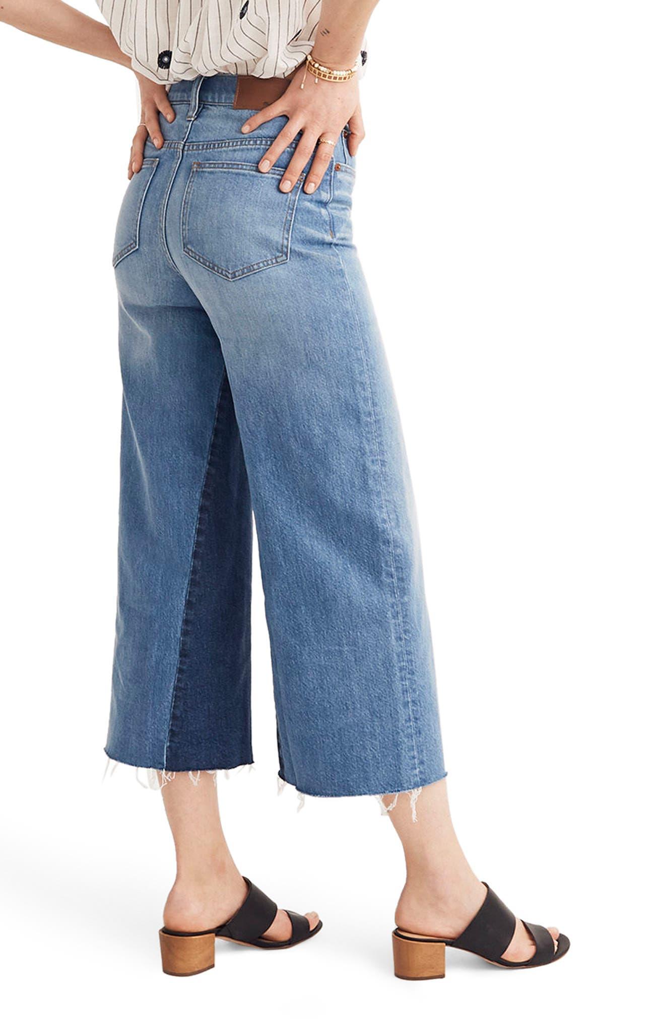 Gusset Crop Wide Leg Jeans,                             Alternate thumbnail 3, color,                             400
